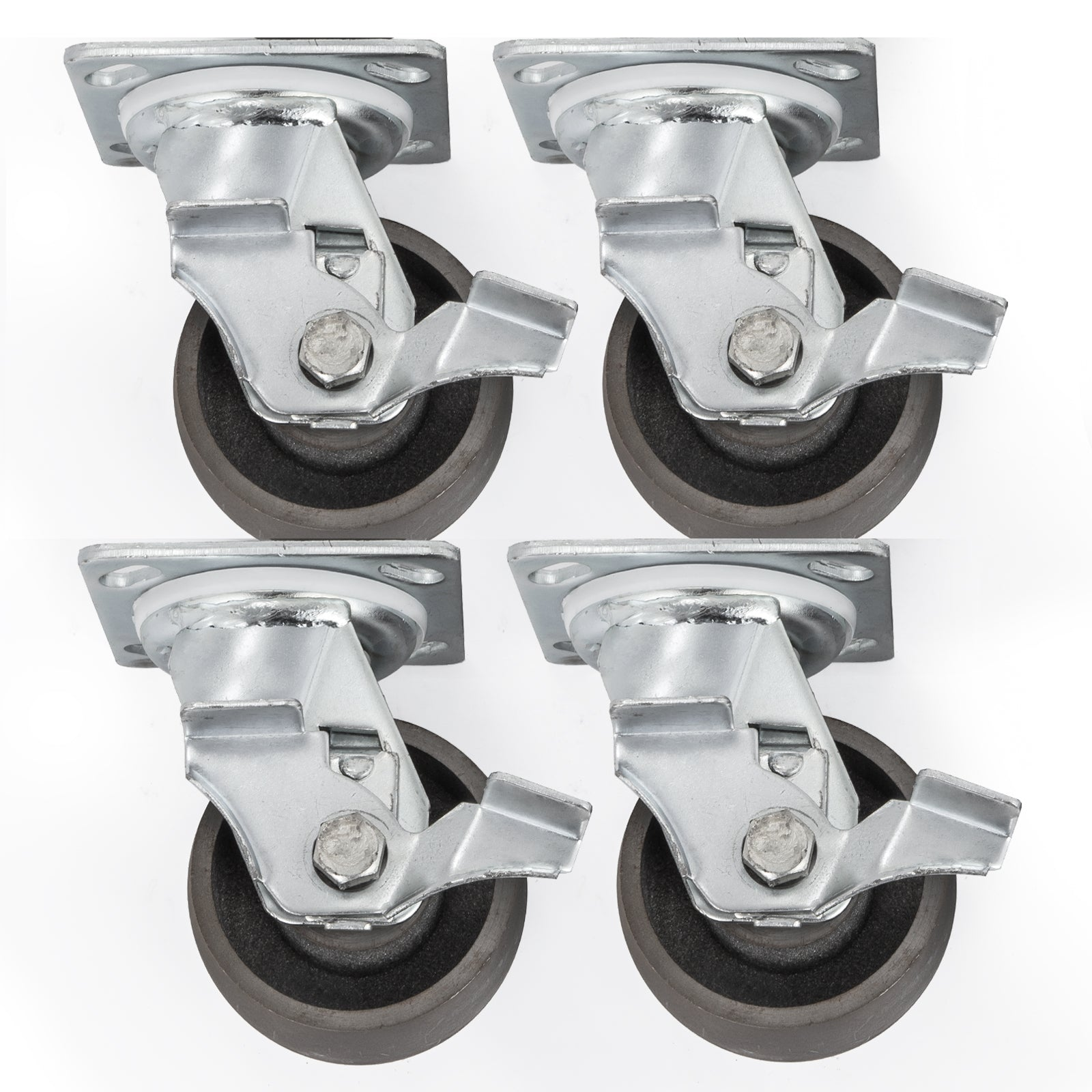 "4"" Heavy Duty Semi Steel Cast Iron Swivel Casters - 4,000 Lb Capacity Set Of 4"
