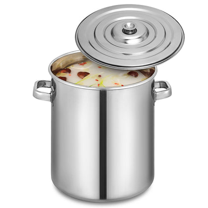53-qt Polished Stainless Steel Stock Pot Brewing Beer Kettle Mash Tun W/ Lid