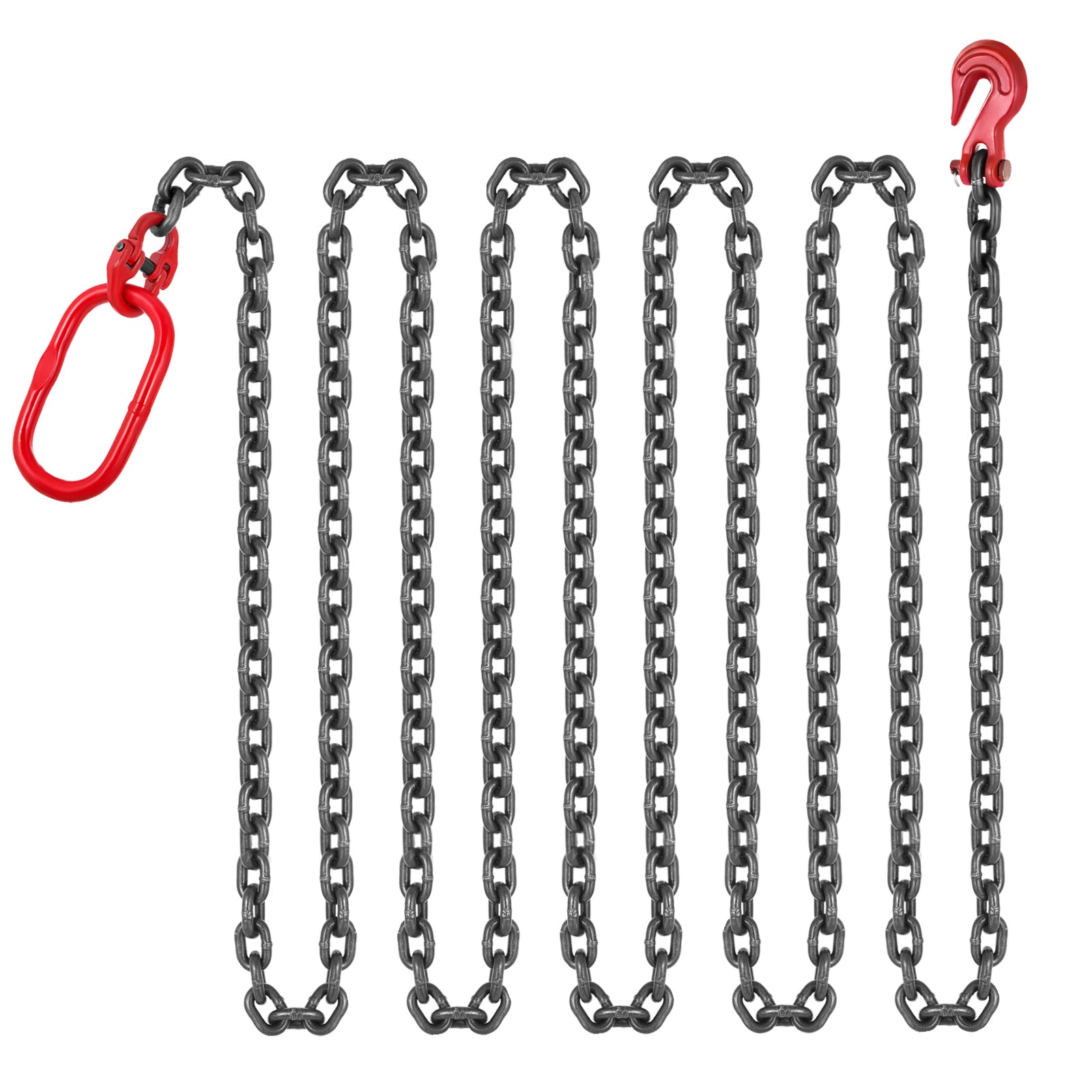 "3/8"" X15' G80 Chain Sling Sog Single Leg Clevis Oblong Grab Lifting Rigging"