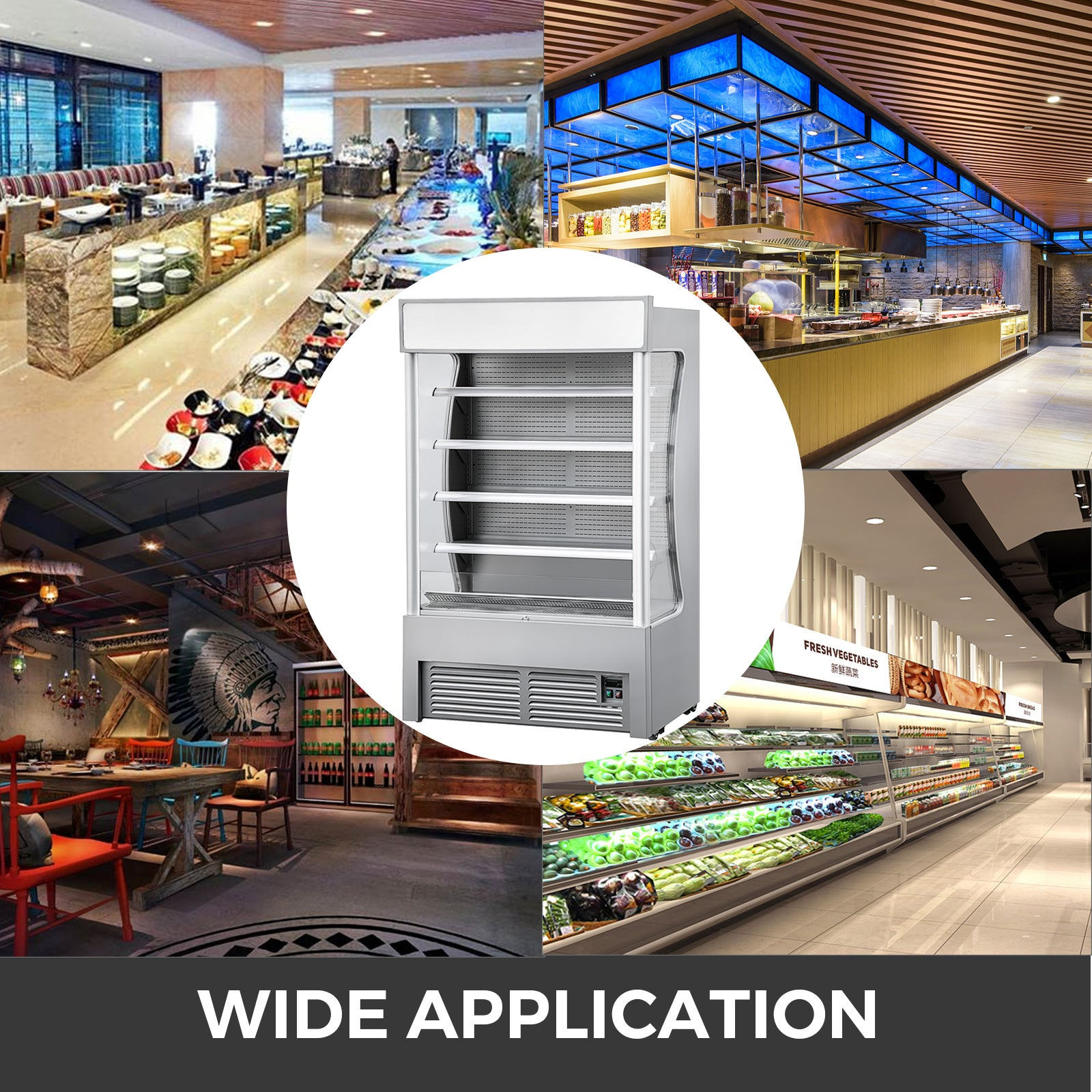 Open Air Refrigerated Display Case Air Curtain Merchandisers 500l Silver