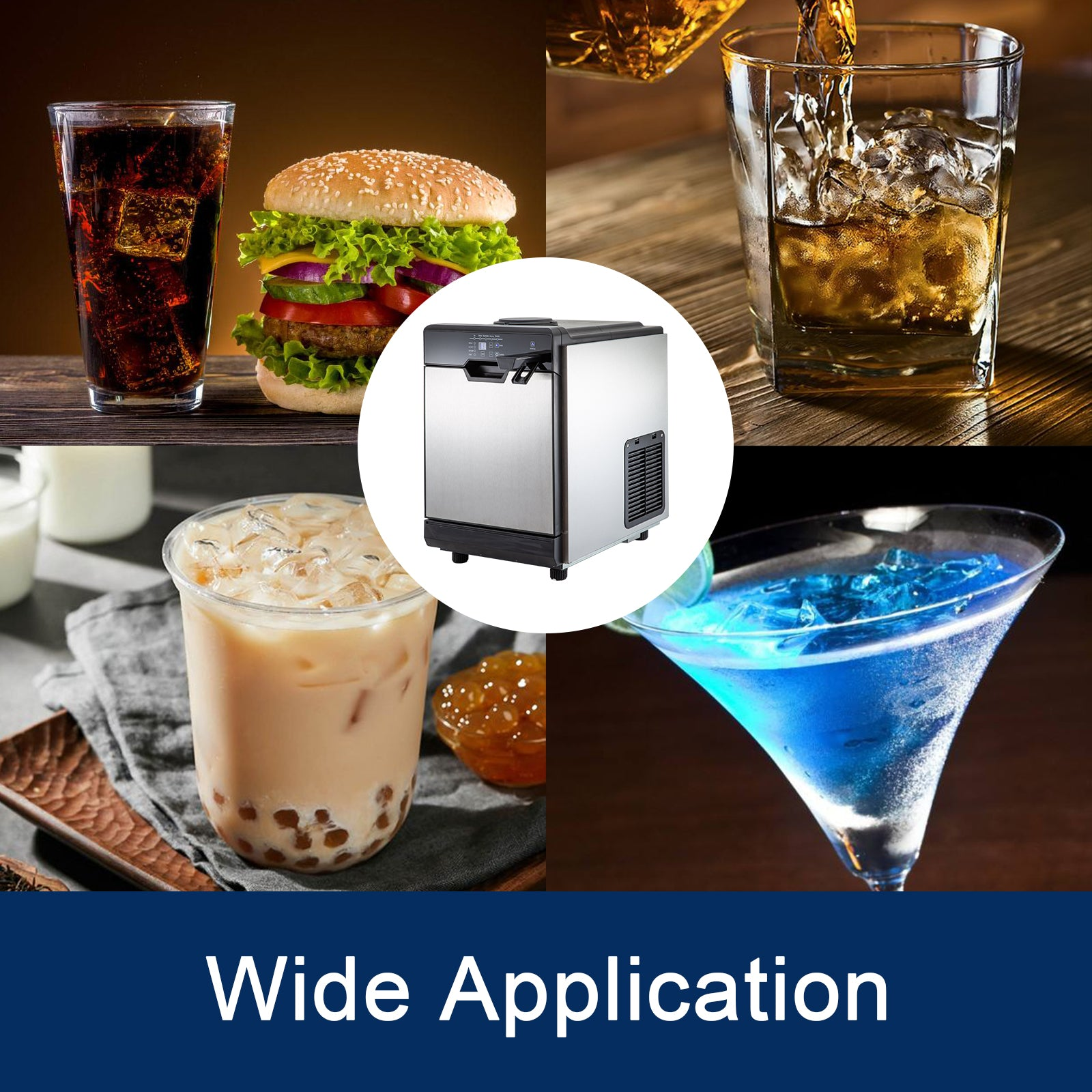 2 In 1 Commercial 50kg Ice Maker W/water Dispenser 110lbs In 24hrs 14lbs Storage