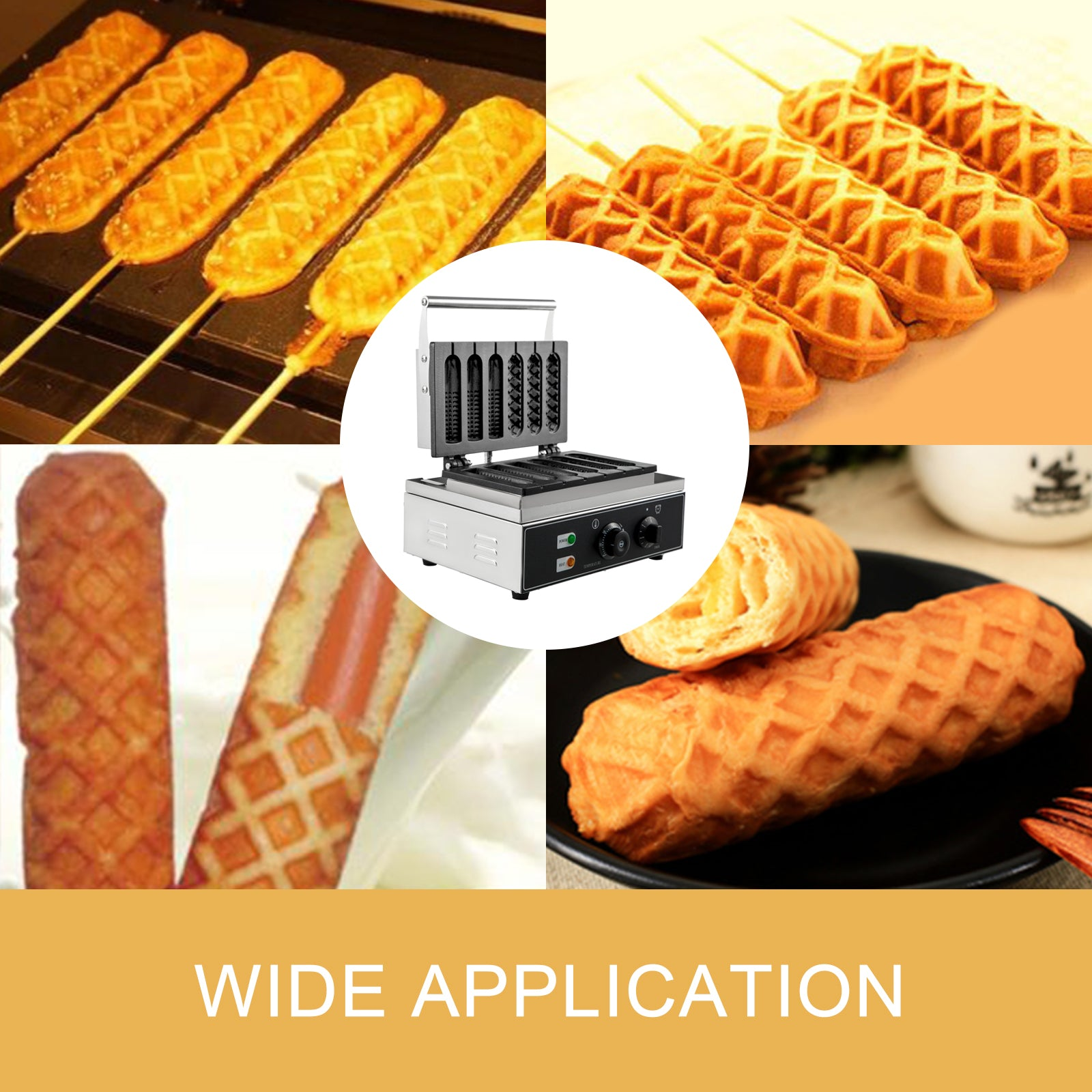 Electric French Waffle Dog Maker Corn Dog Baker Foot Pads 0~5 Mins 50~300℃