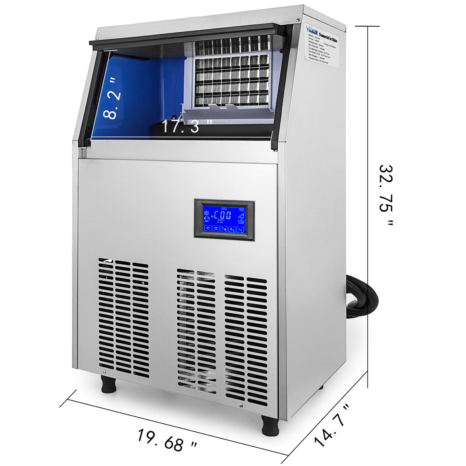 88lbs Commercial Ice Maker Ice Cube Making Machine 40kg W/28lbs Ice Storage Sus
