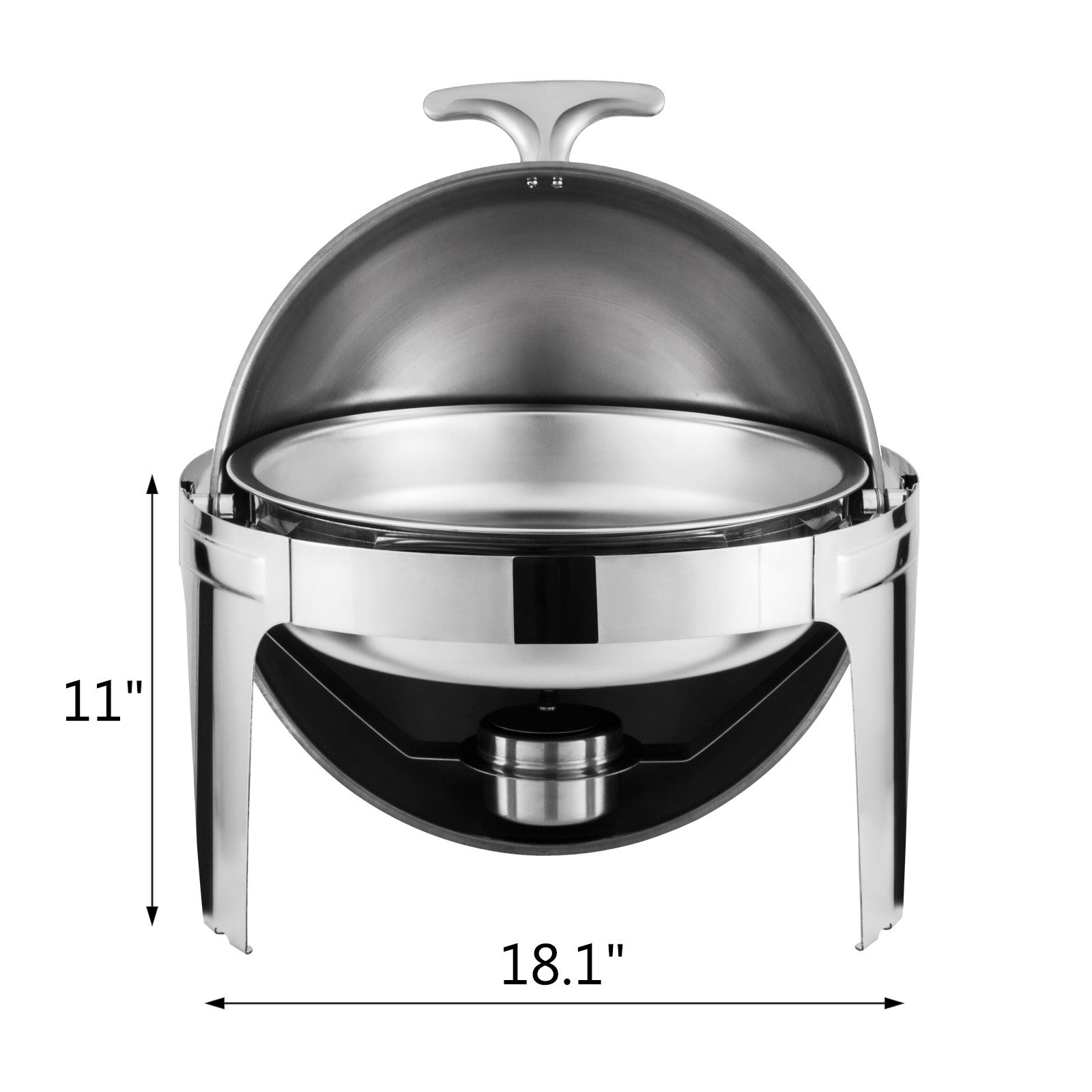 2 Pack Catering Stainless Steel Chafer Chafing Dish Sets Round Roll Top 6 Qt