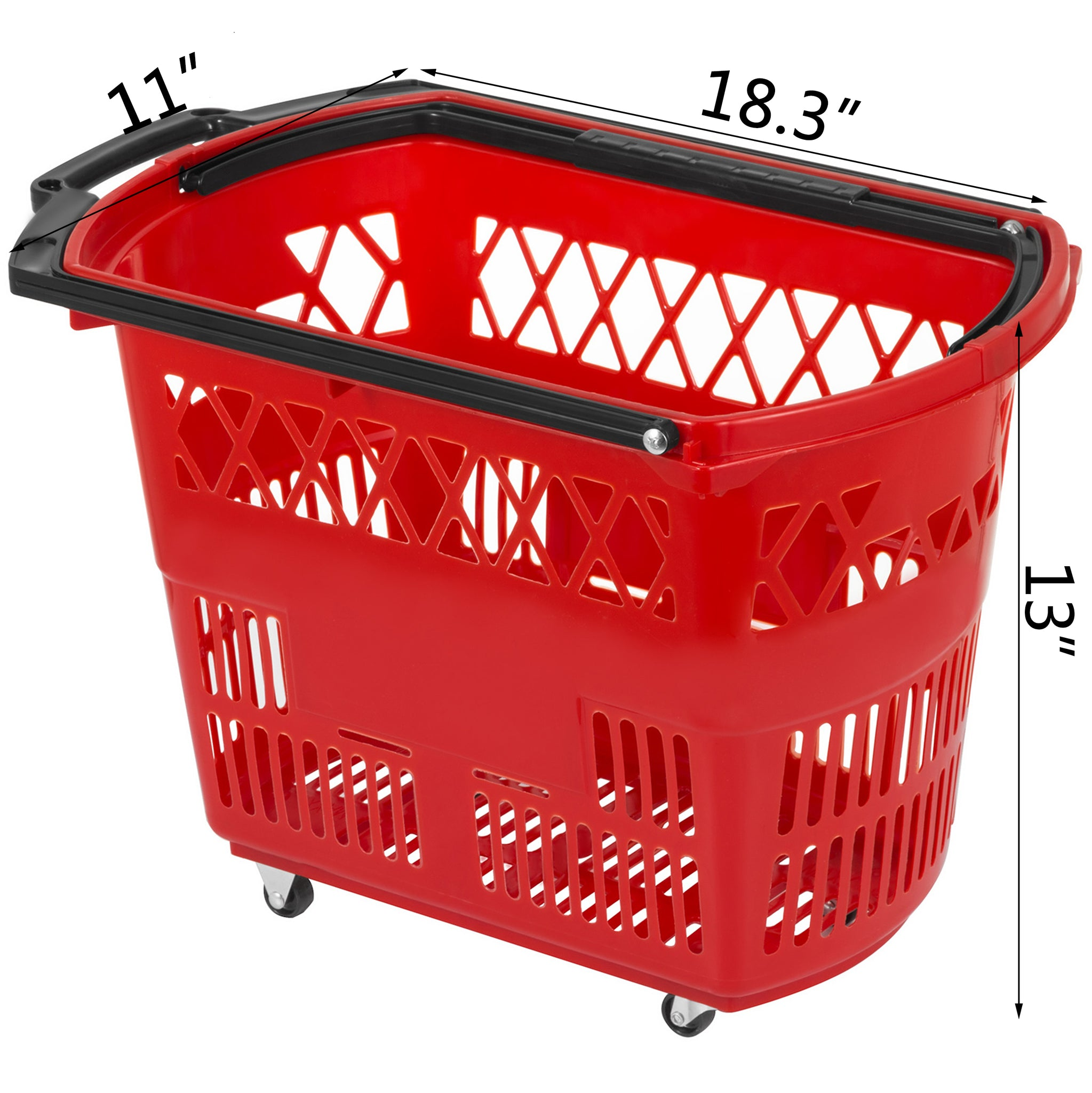 3pcs Red Shopping Basket 18.3x11x13in Shopping Lightweight Convenience Store
