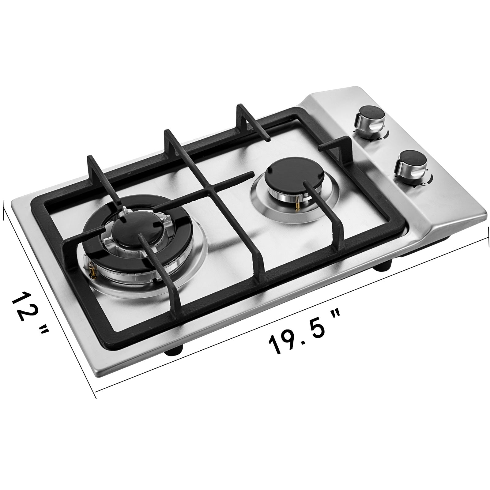 "12"" 2 Burners Gas Cooktop Stainless Steel Iron Grates Double Oven Durable Knob"