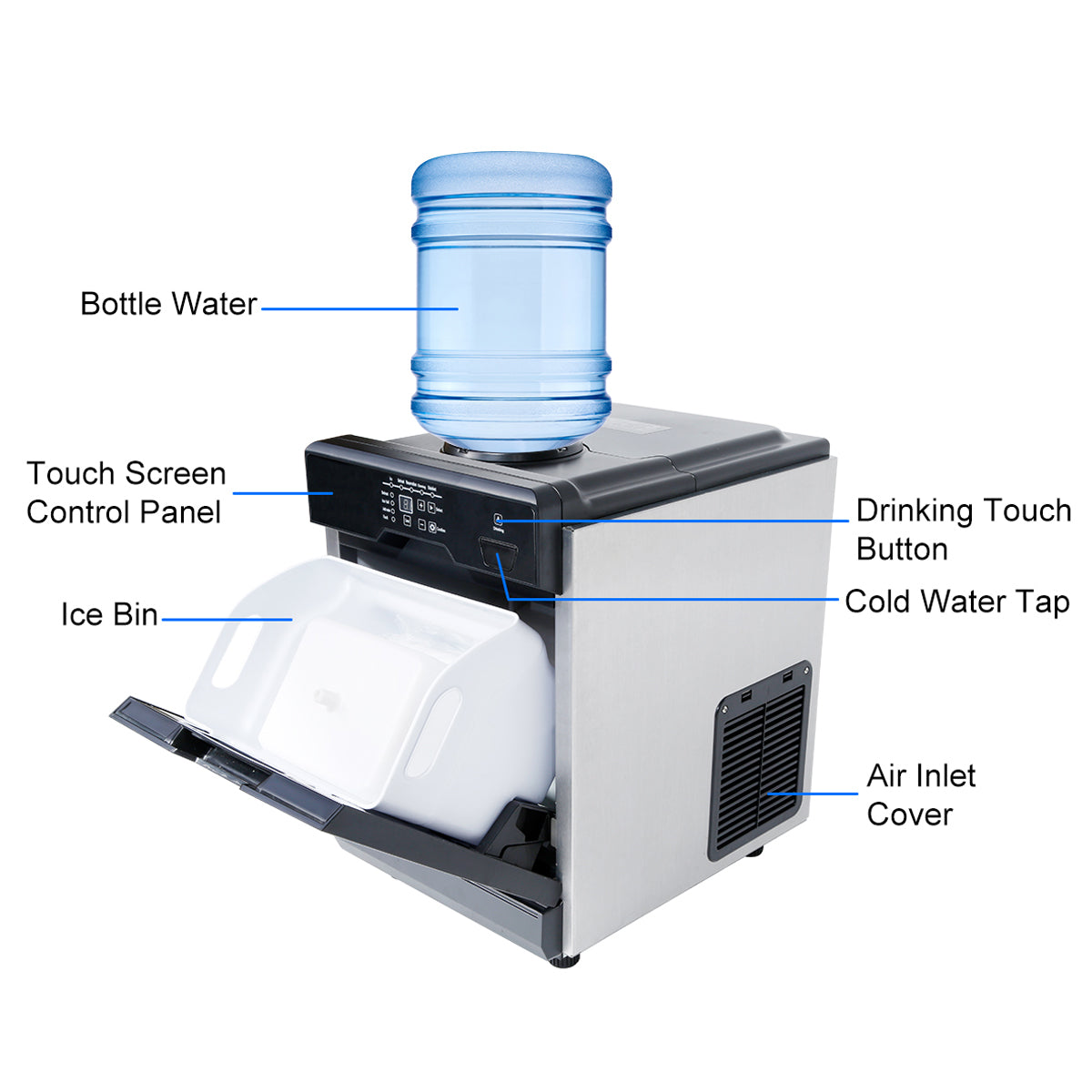 78LBS /24Hrs Ice Maker With Cool Water Dispenser Ice Scoop 2Filters Fast Cooling