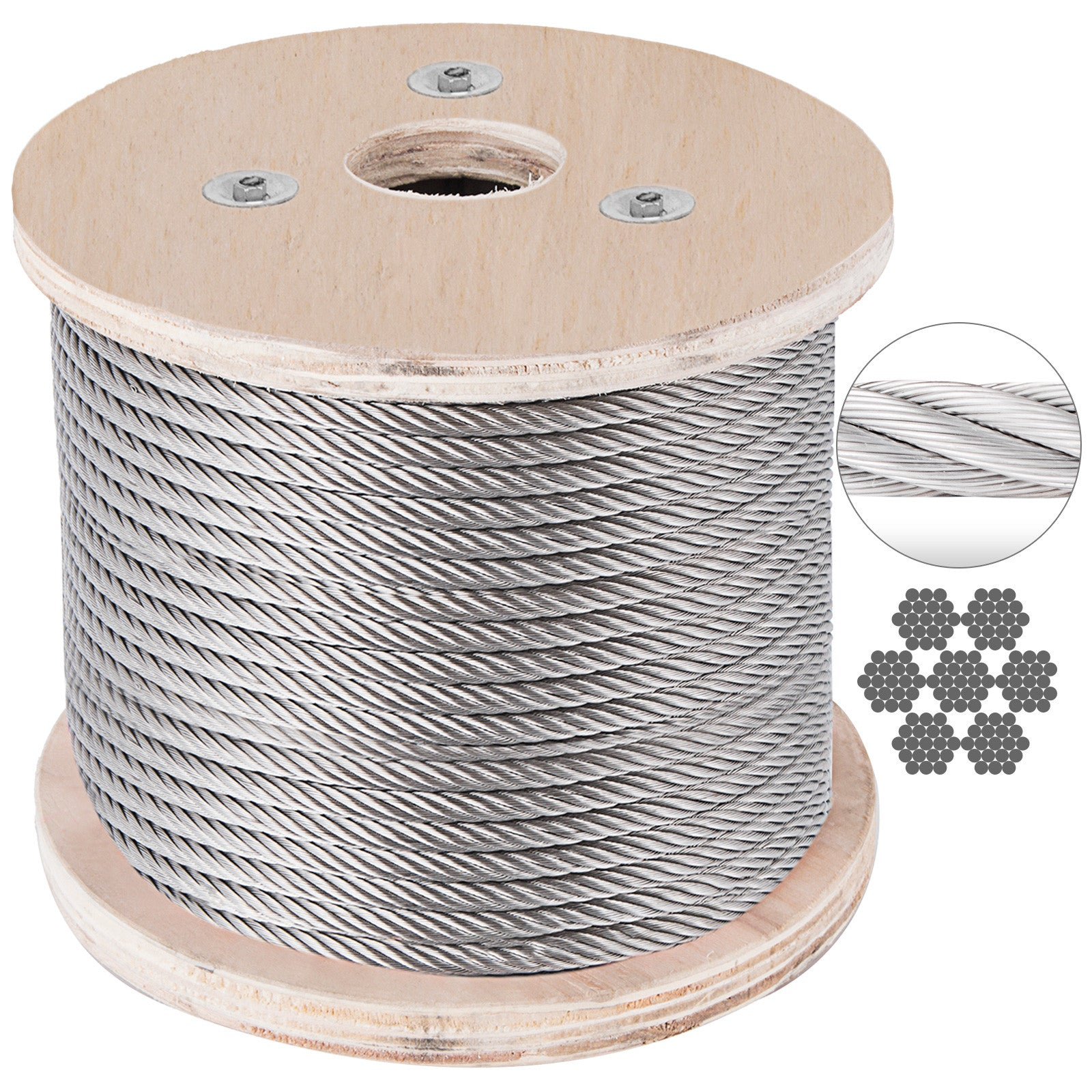 "1/2"" Stainless Steel Cable Railing Wire Rope 7x19 Type 304 (50 Feet)"