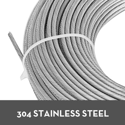 T304 Stainless Steel Cable Wire Rope,3/16,7x19,100ft Aircraft Lifting Reel