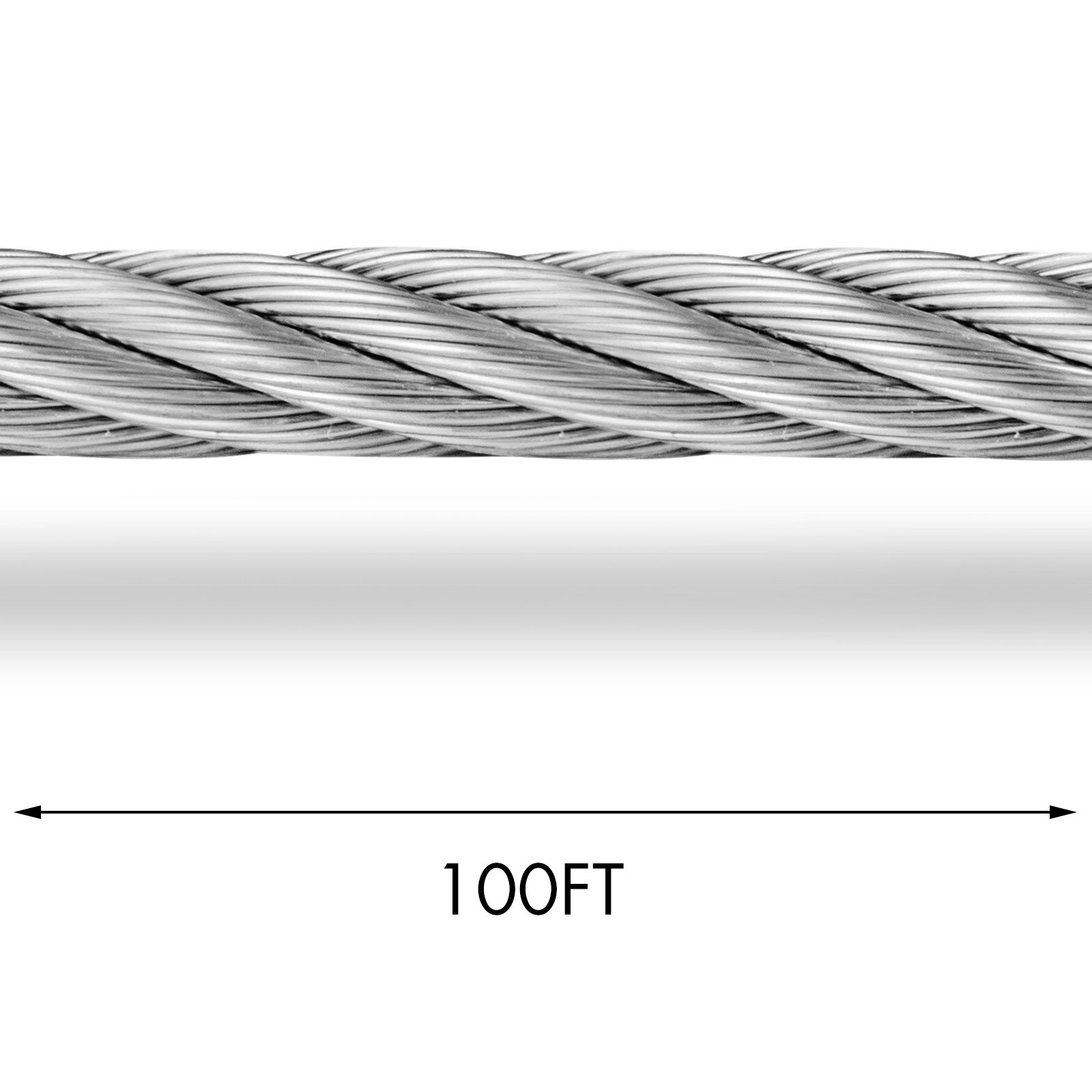 T316 Stainless Steel Cable 100ft Wire Rope Cable,1/8,7x7 31m