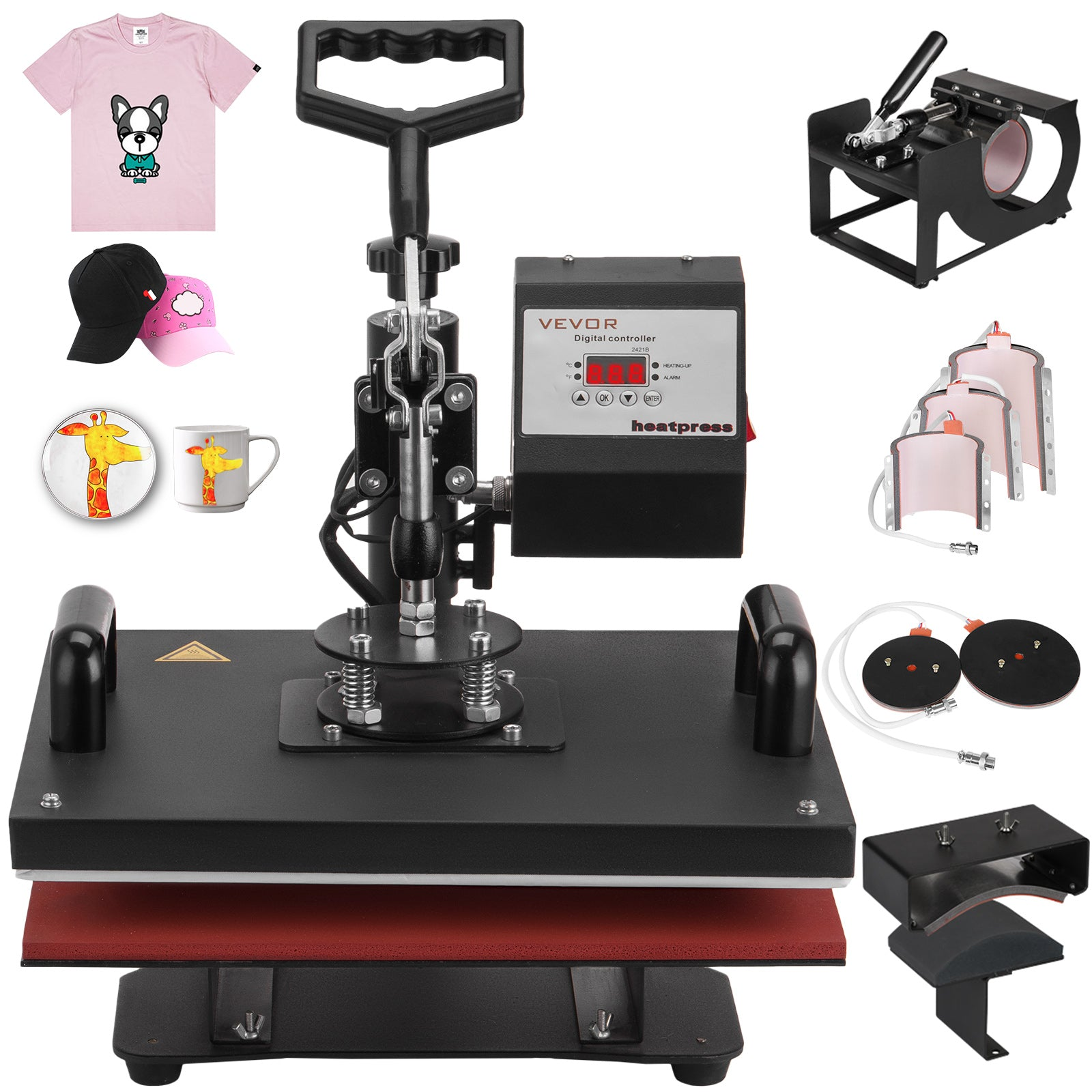 "8 In 1 Heat Press Machine For T-shirts 12""x15"" Combo Kit Sublimation Swing Away"