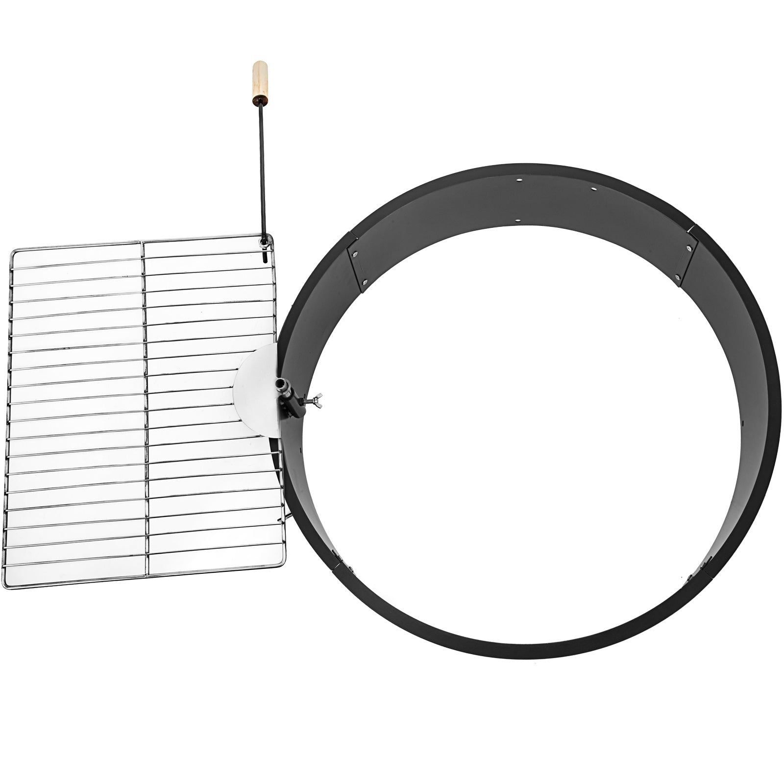 "36"" Steel Fire Ring Liner Ring Grill Swivels 360 Degrees Bbq Grills"