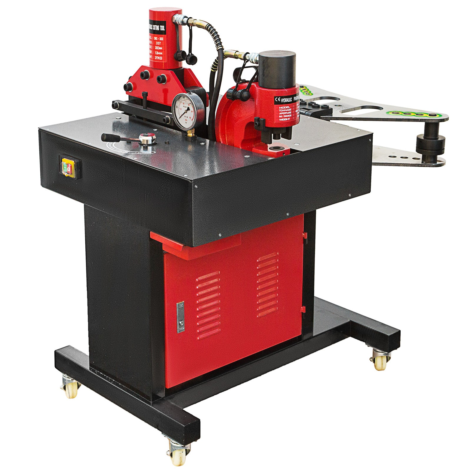 3 In 1 Electric Hydraulic Busbar Bender 35-50 Ton Vertical 4 Casters 750w
