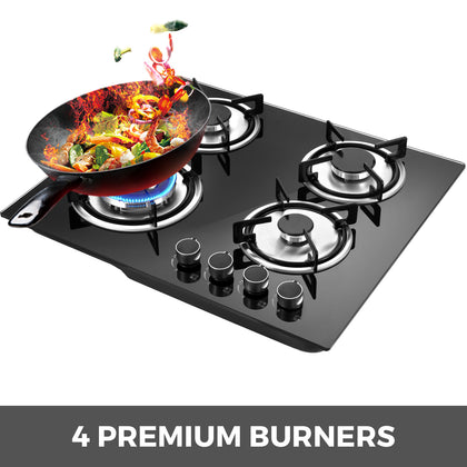 Tempered Glass 4 Burners Stove Gas Cooktop Ceramic Glass 24