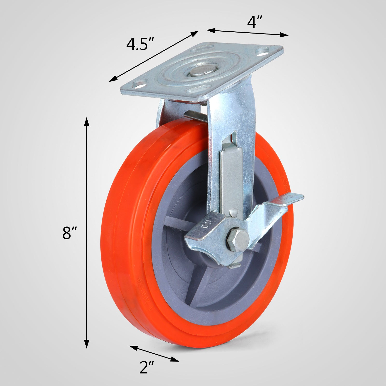 Polyurethane Casters Wheels Pu Swivel Wheels 8'' X 2'' 800lbs X4pcs Heavy Duty