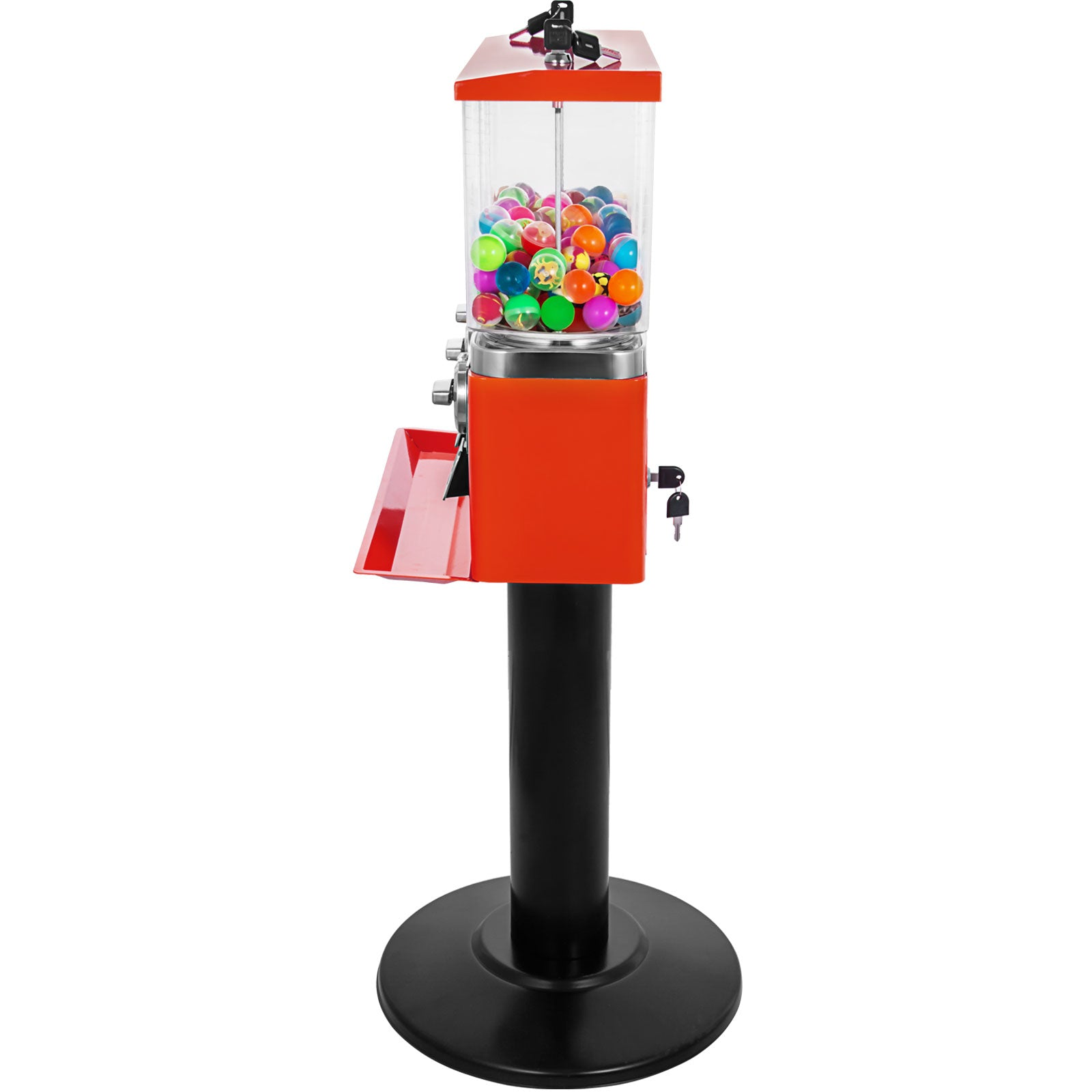 Red Triple Bulk Candy Vending Machine Three-head W/locks+keys Candy Dispenser