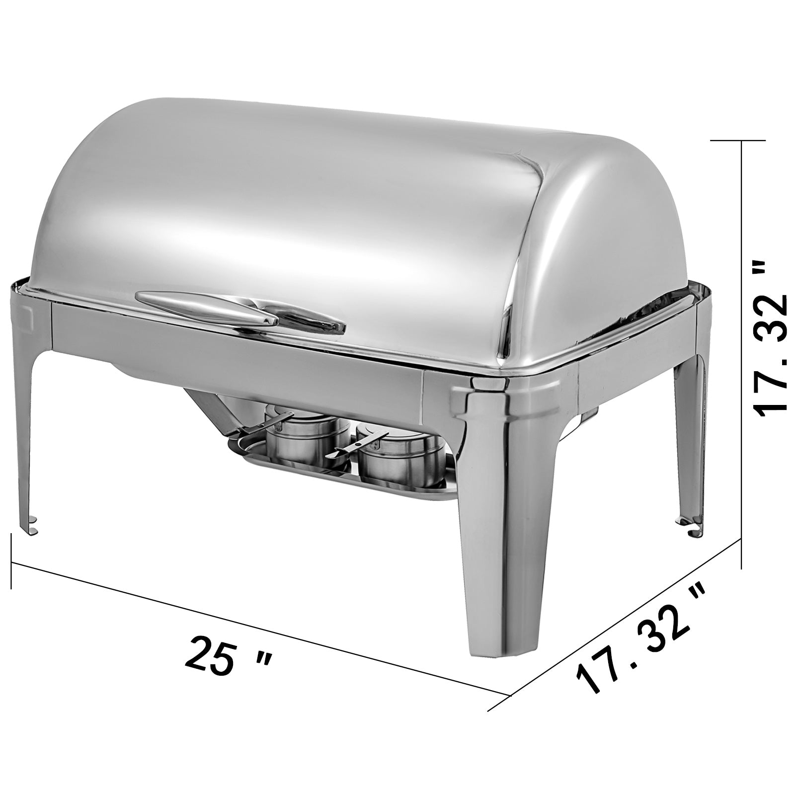 2pack Chafer Chafing Dish Roll Top Chafing Dish Stainless Steel Rectangular
