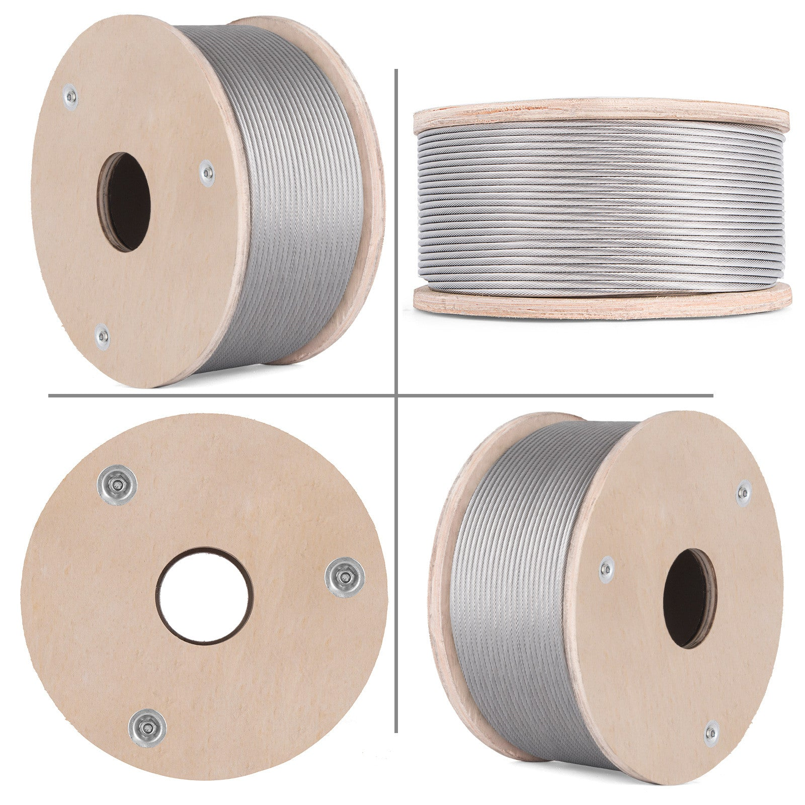 "T316 Stainless Steel Cable Wire Rope,3/16"",1x19,250ft Machinery Strand Mining"