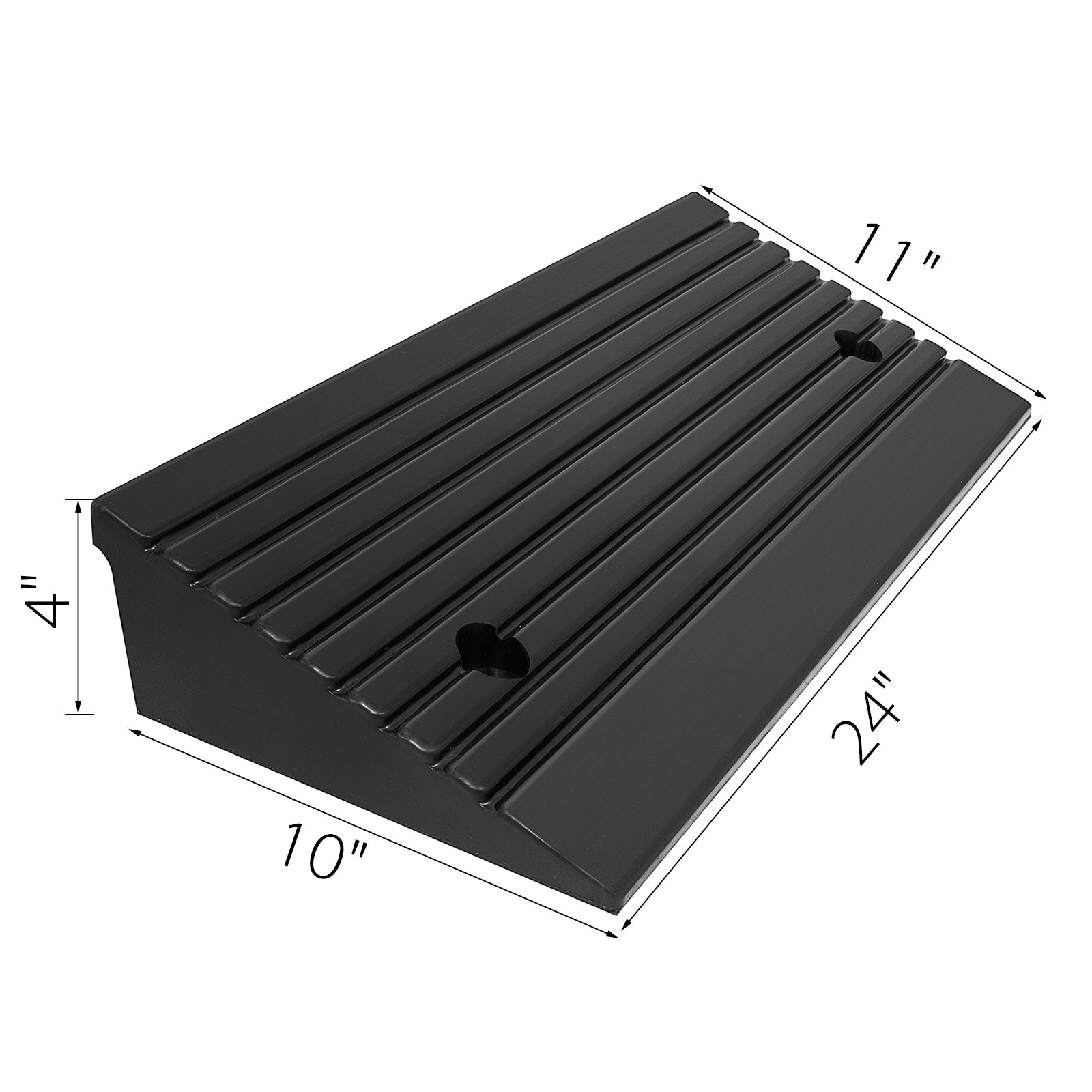 11000lb Rubber Curb Ramp 23.6''x10''x4'' Parking Lot Durable Warehouse On