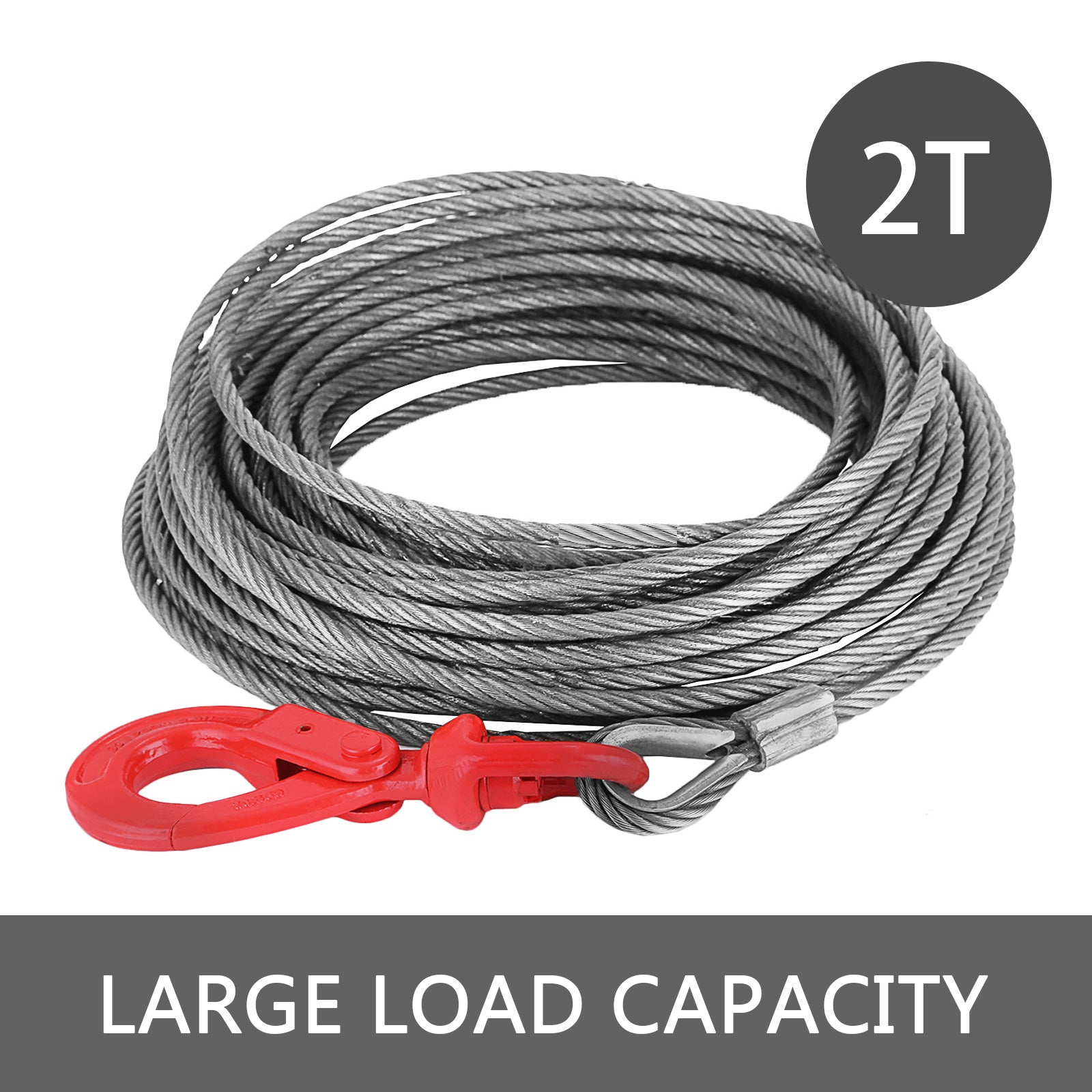 "Fiber Core Winch Cable 5/16""x100' With Swivel Hook 4400lbs High Strength"