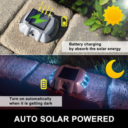 4 Pcs Solar Led Marker Lights Safety Light For Pathway Driveway Dock Path Deck