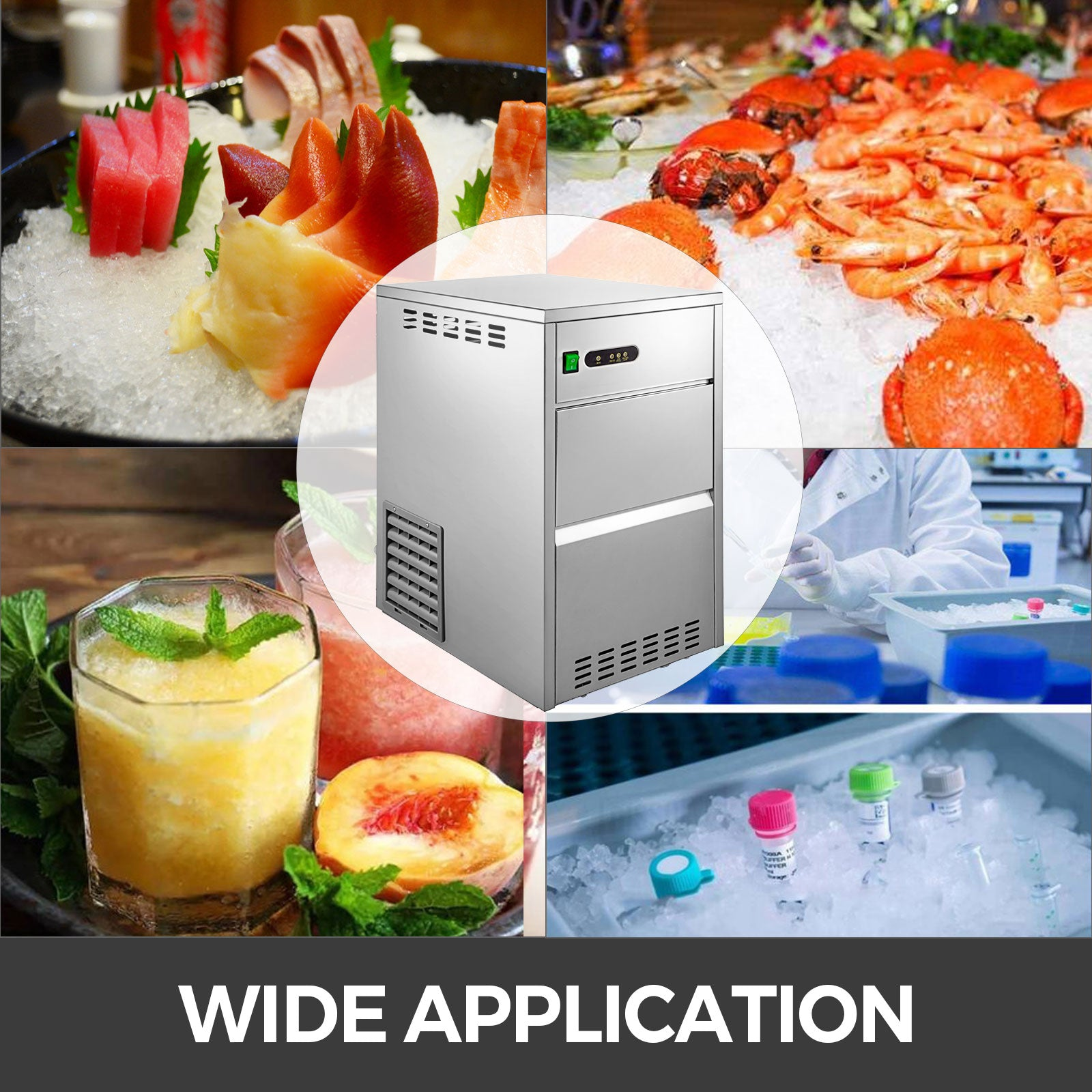 155lbs Commercial Ice Maker Ice Cube Making Machine 70kg Lcd Control Panel 5*11