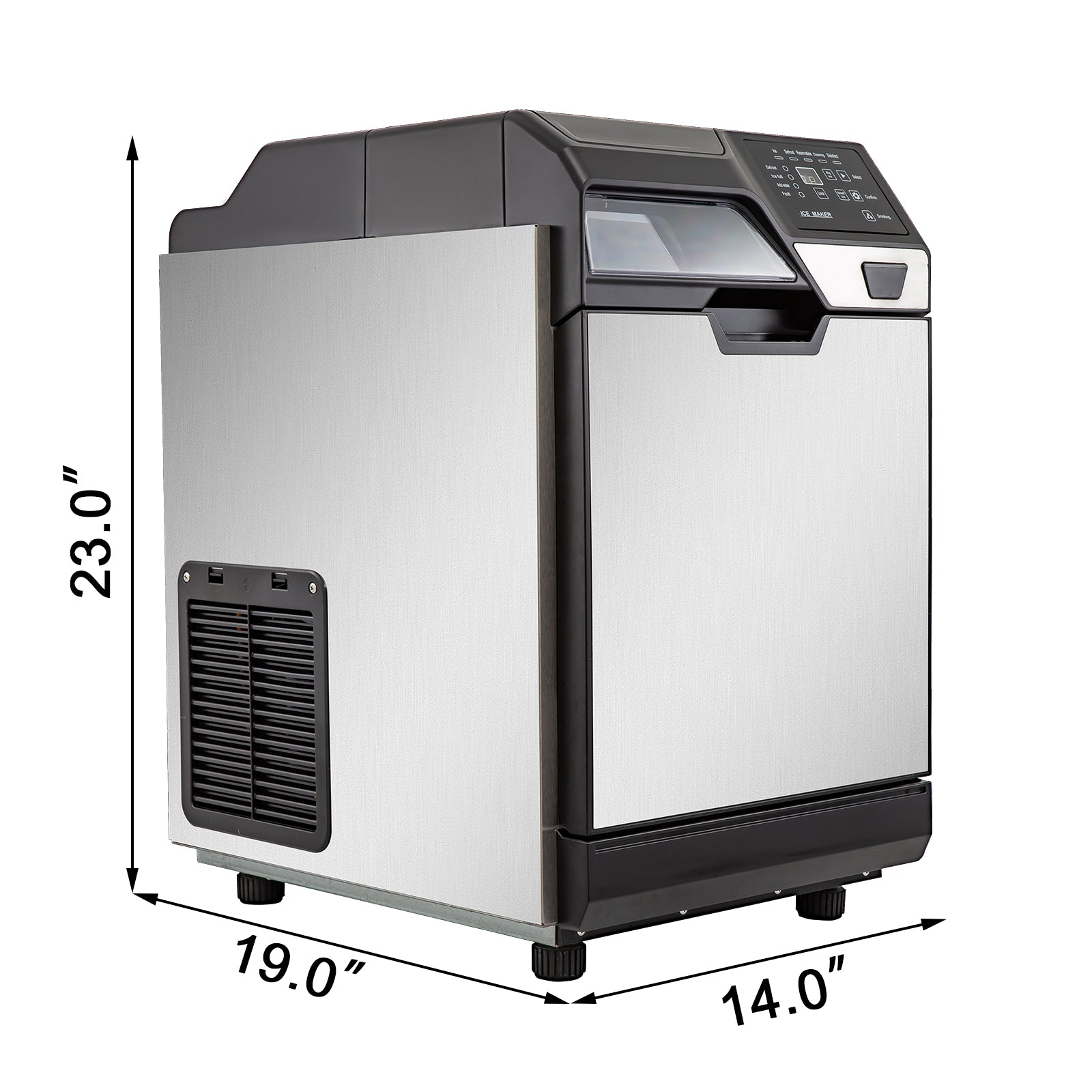 35kg/24h Ice Maker With Cool Water Dispenser 77 Lbs Office Auto 2 Strainers