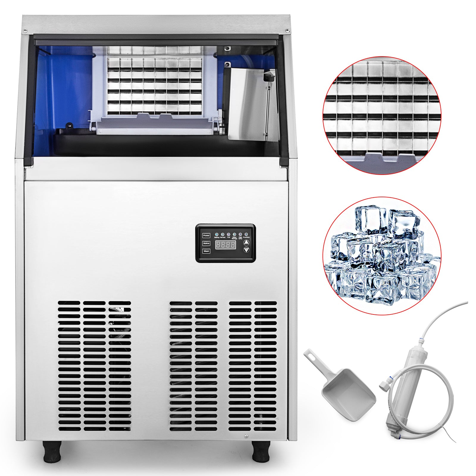 Commercial Ice Maker Ice Cube Machine Stainless Steel Restaurant 45-60kg Us