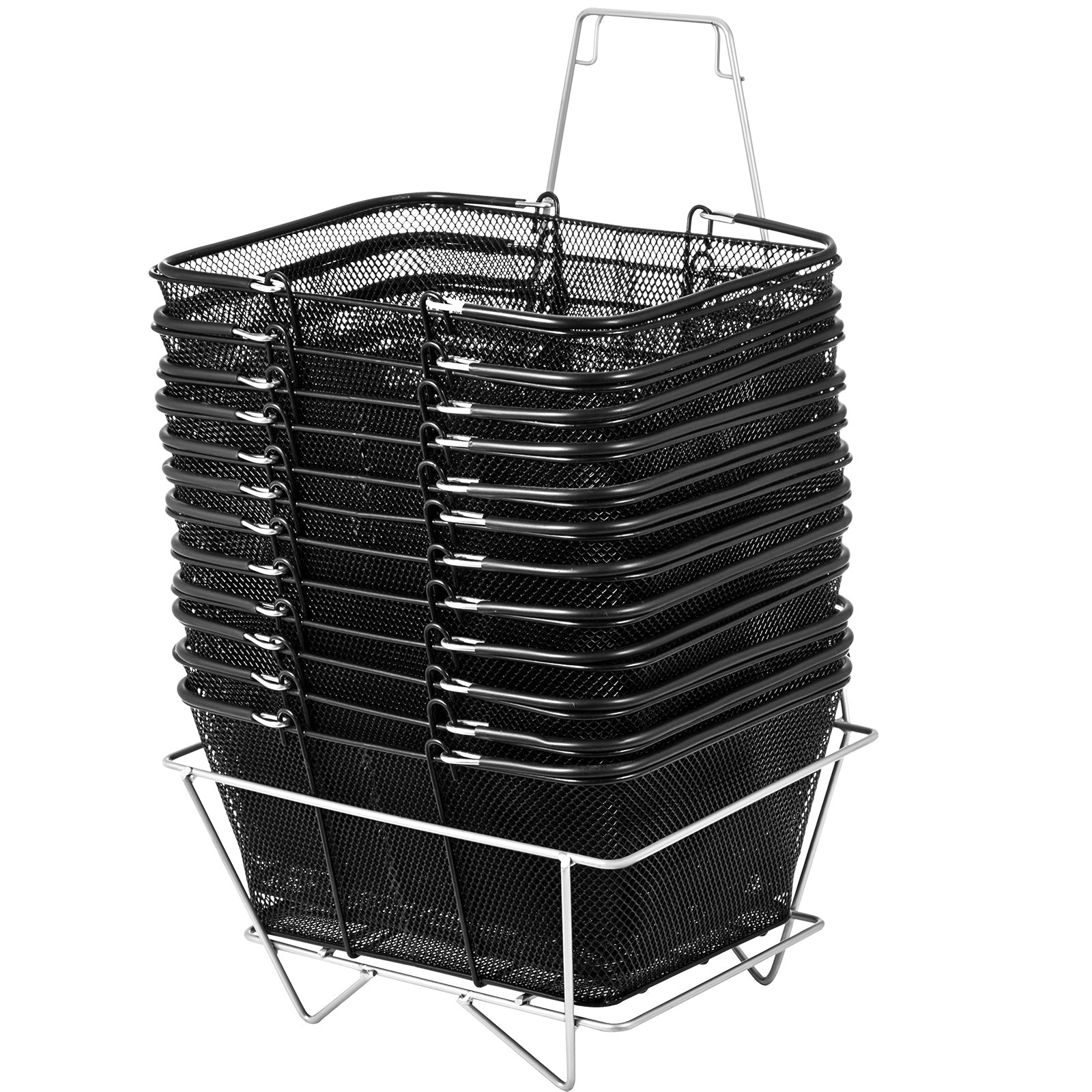 12pcs Black Shopping Baskets 20kg/44lbs Durable Metal Powder Coating Hot Pro