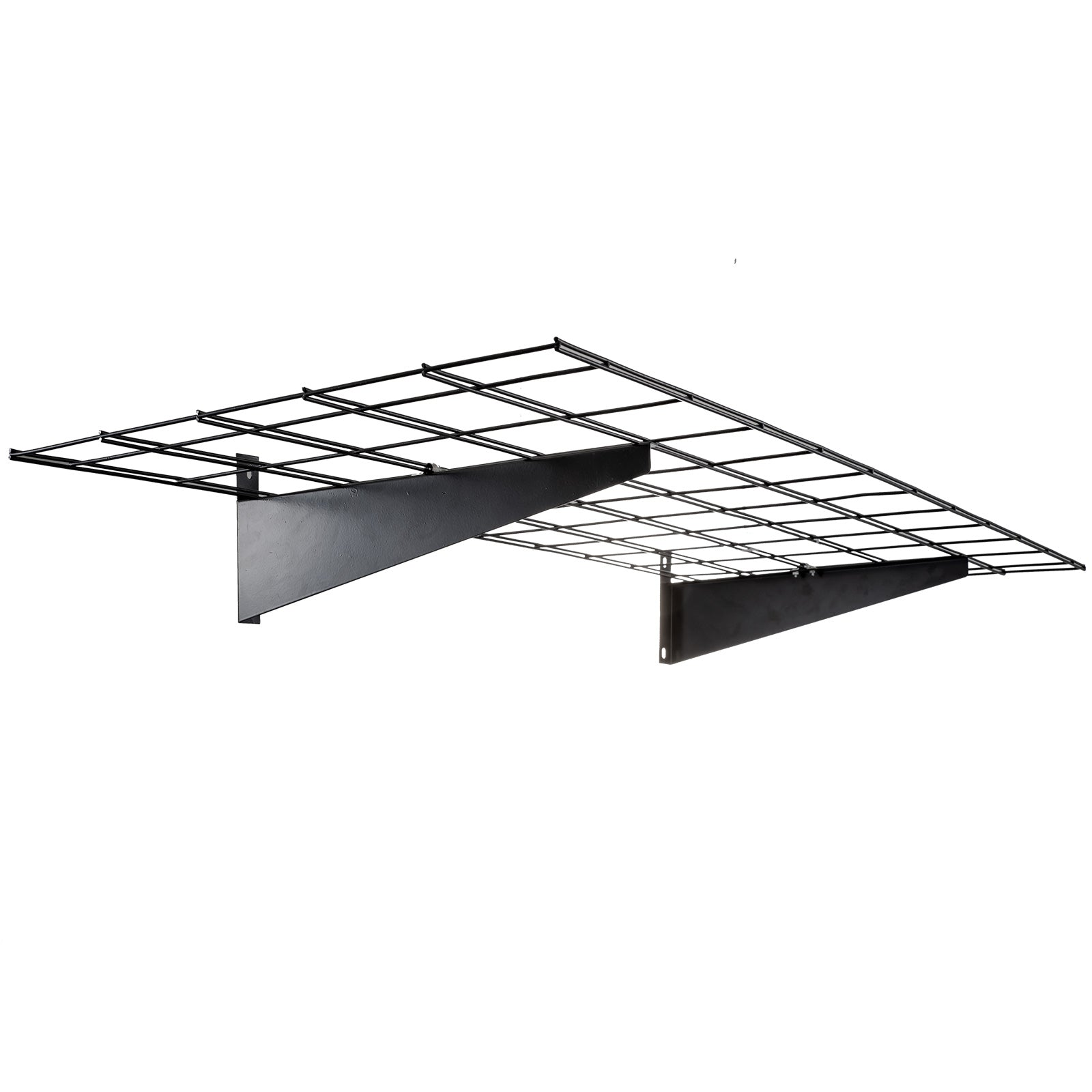 "4 Pcs Black Storage Wall Shelving Steel Construction 43.3 X 15.5"" Garage"