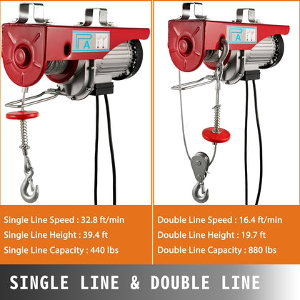 880lbs Electric Wire Hoist Remote Control Garage Auto Shop Overhead Lift