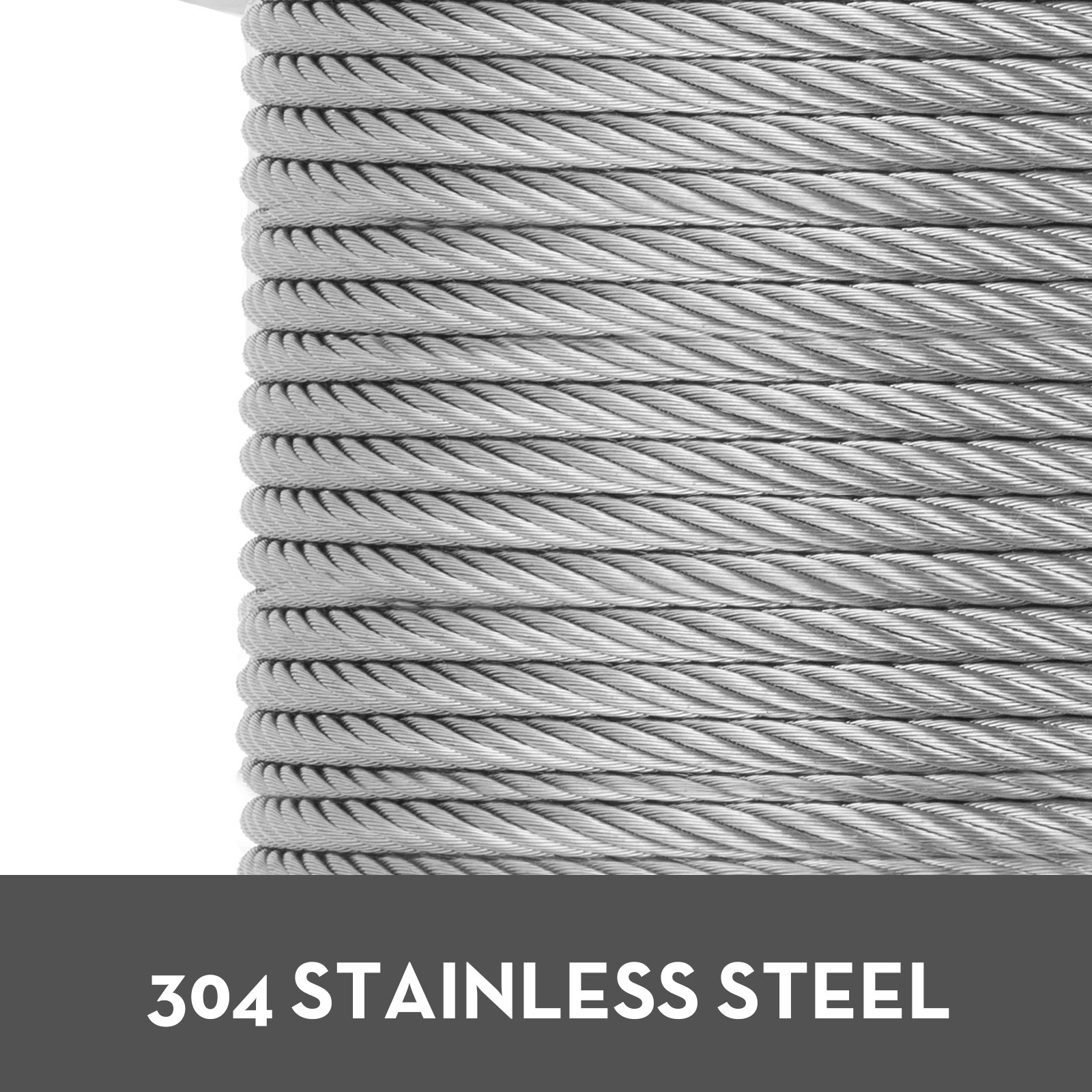 "T304 Stainless Steel Cable Wire Rope,1/4"",7x19,200ft Fishery Aircraft Strand"