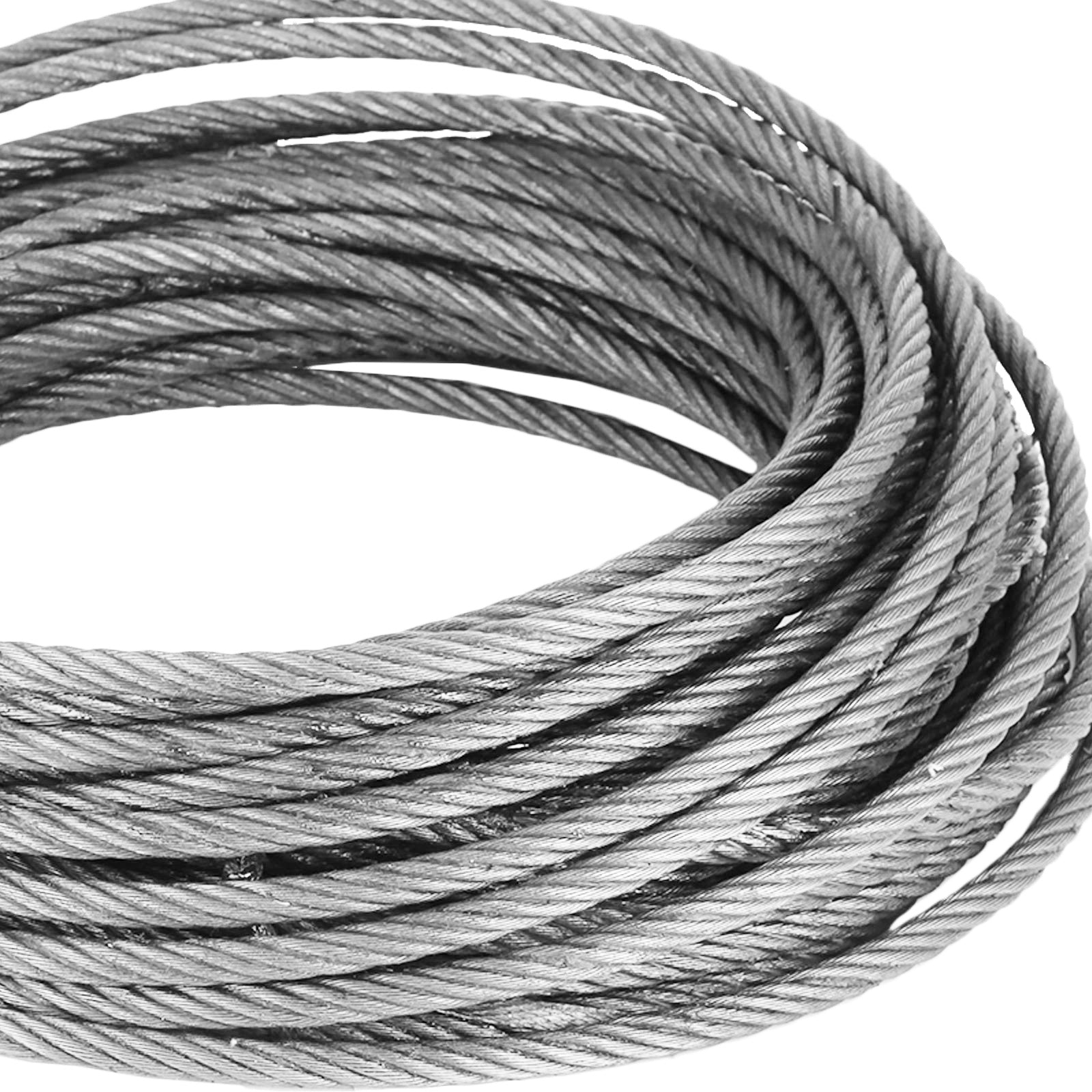 "Fiber Core Winch Cable 1/4"" X 50' With Self Locking Hook 2200 Lbs Wire Rope"