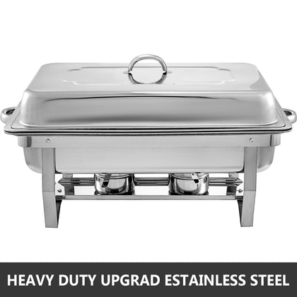2 Pack Chafing Dish Sets Buffet Catering Stainless Steel W/tray Folding Chafer