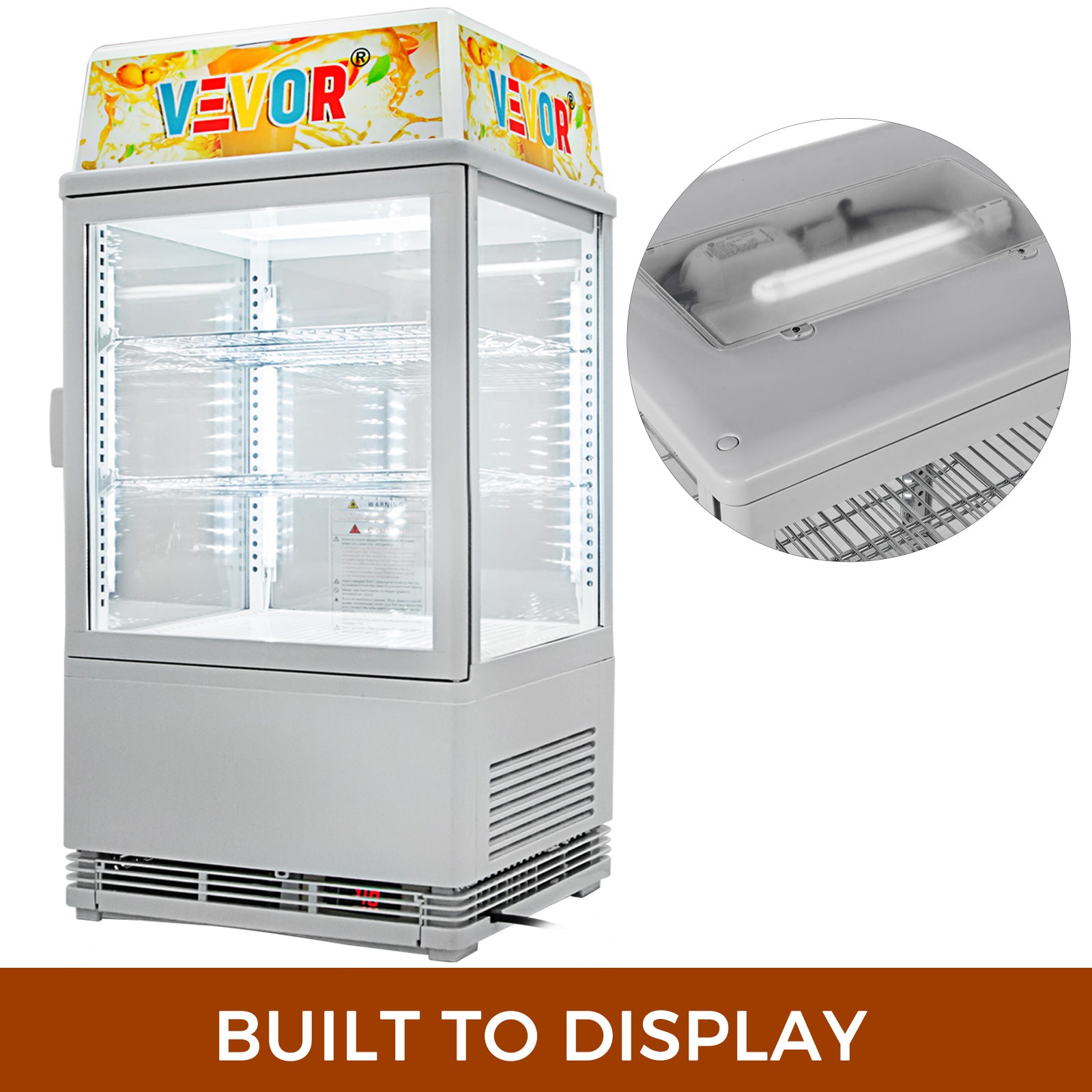 Commercial Beverage Refrigerator 58l Countertop Display Cooler Drink Show Case