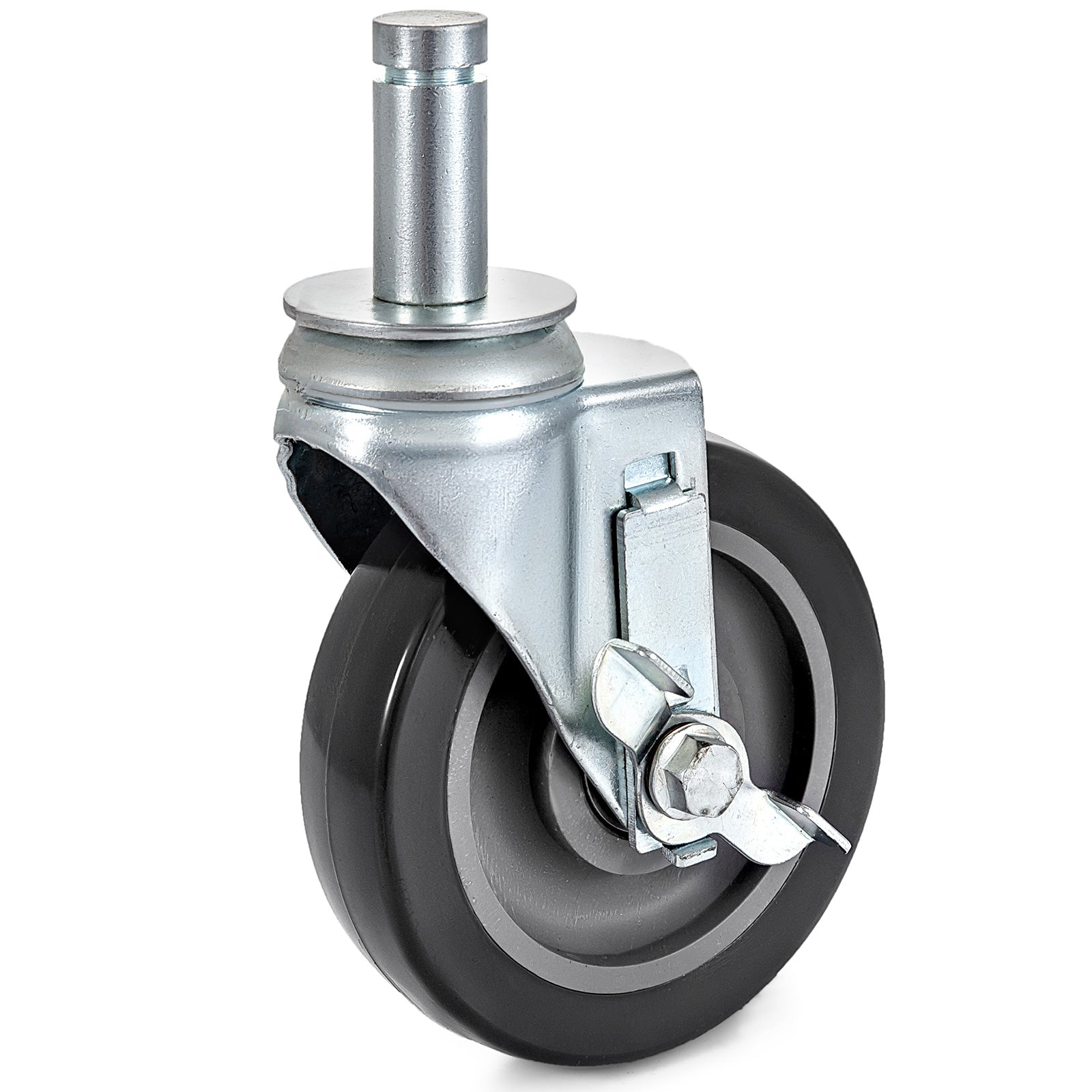 "5"" Scaffolding Swivel Casters With Side Brake Steel 260lbs Stem"