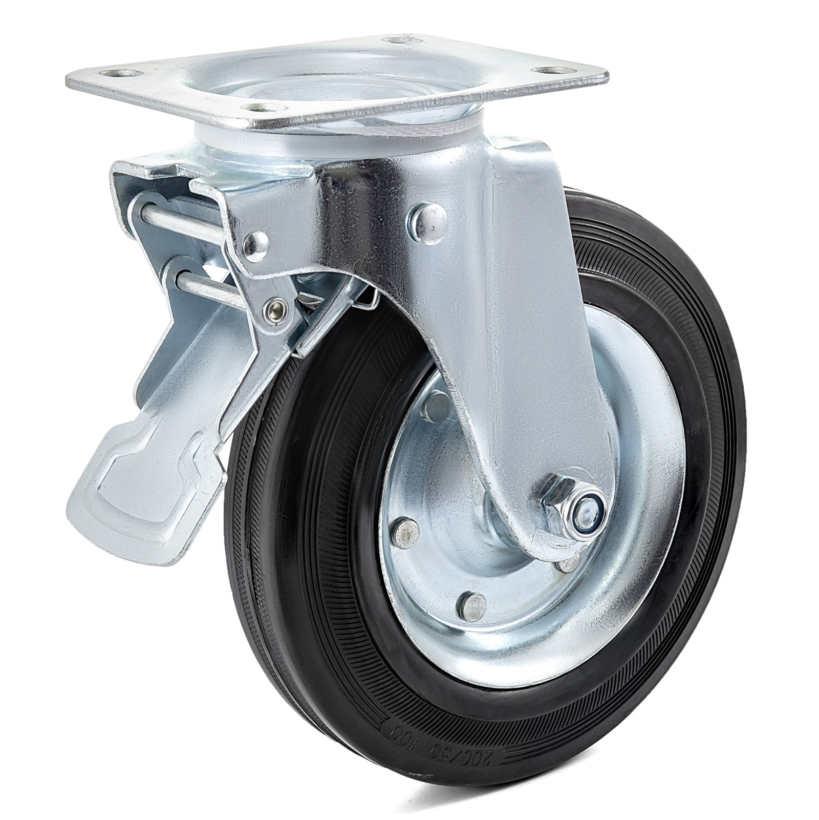 "8"" Swivel Casters With Rubber Dual Locking Top Plate Heavy Duty Furniture"
