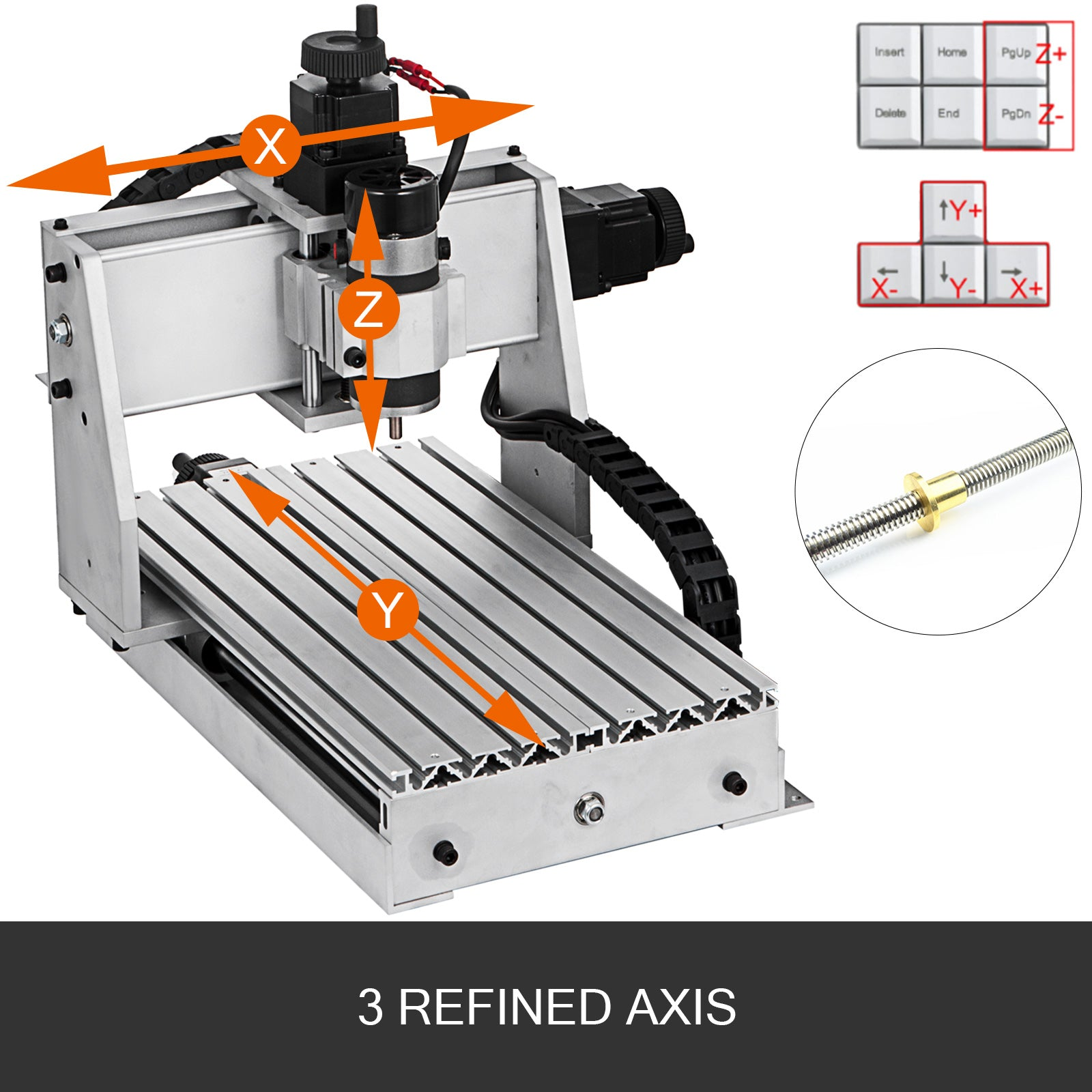 3 Axis Cnc Router 3020 Engraving Milling Machine Woodworking Chrome Plate Shaft