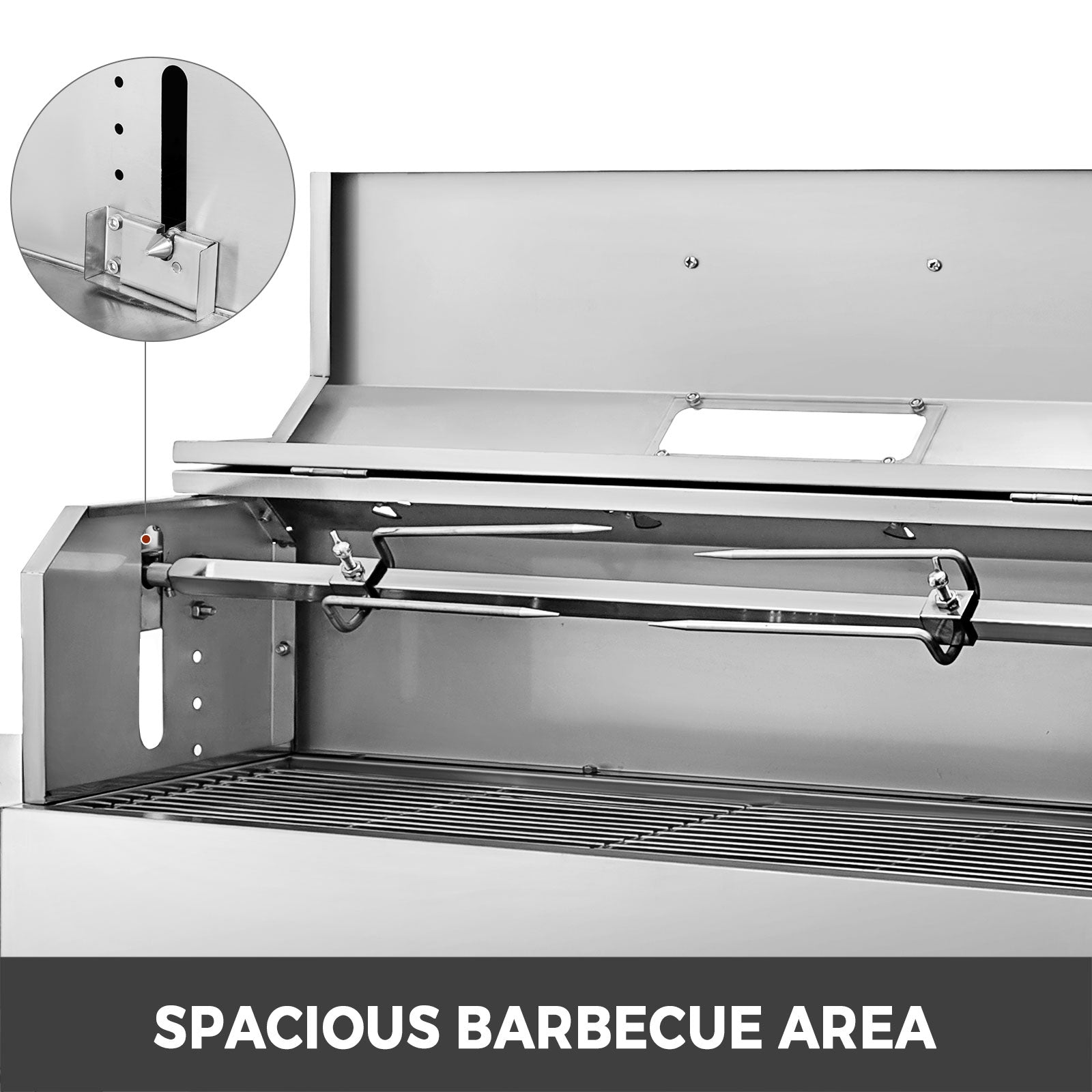Bbq Charcoal Grill 5-stage Charcoal Position 2 Side Boards Heat Insulation Lid