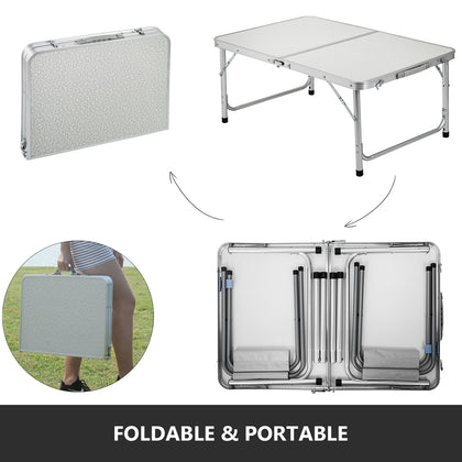 Folding Camping Table And 2 Chairs Picnic Set Aluminum Frame With Mdf Tabletop