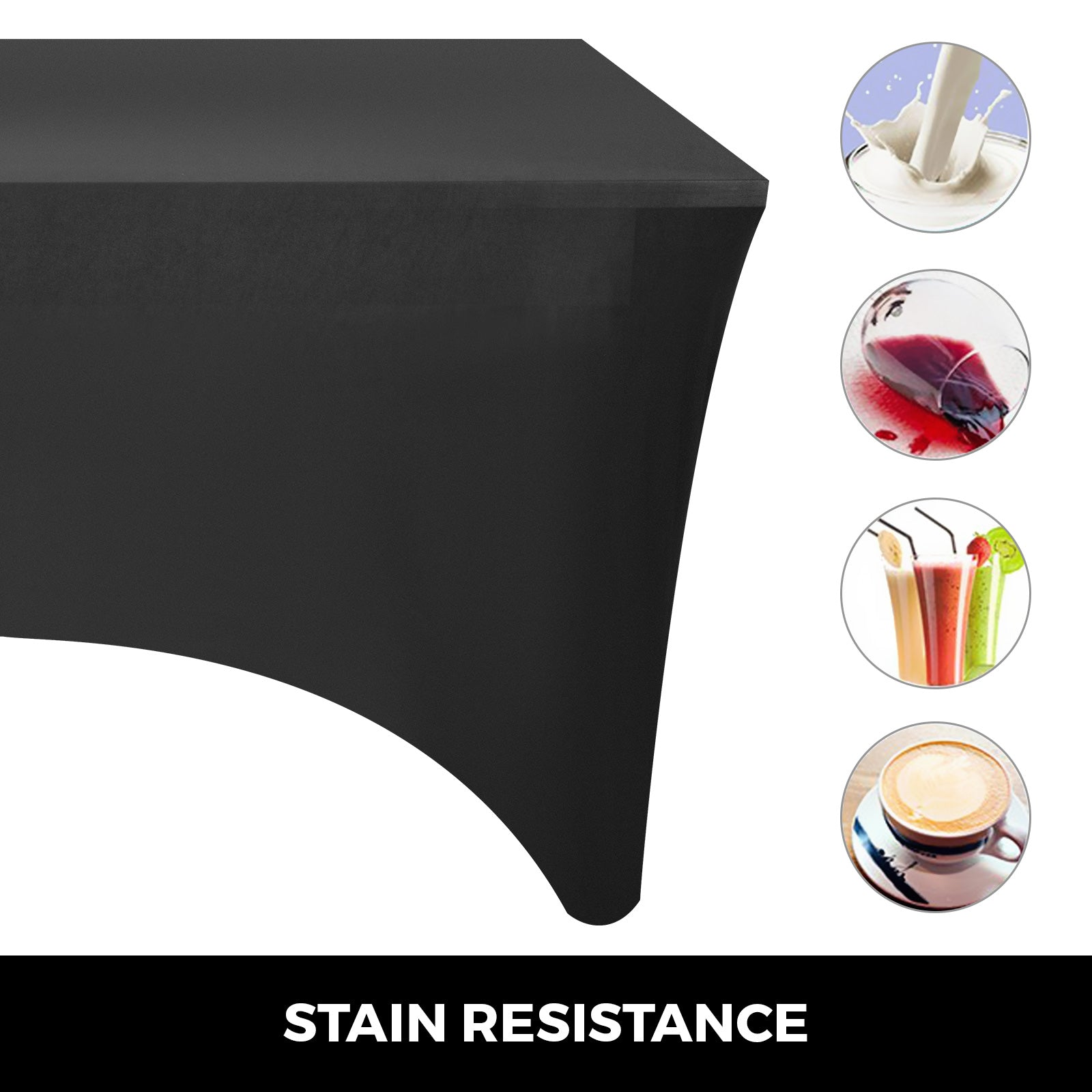 20pcs 8ft Rectangular Stretch Tablecloth Cover Foldable Close Stitches Black