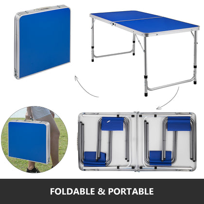 Folding Camping Table And 4 Chairs Picnic Set Aluminum Frame With Mdf Tabletop