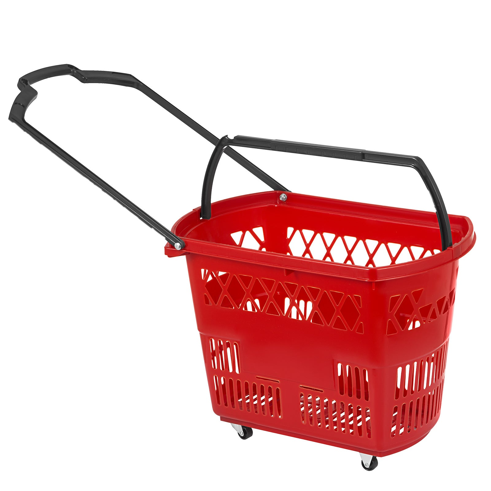 6pcs Red Shopping Basket 21x13.2x14.3in Plastic Supermarket Metal Handles Hot