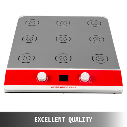 Magnetic Stirrer 9 Position Lcd Mixer 1000ml*9 W/stirring Pellet 0-1500rpm/min