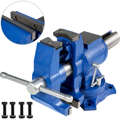 Bench Vise 5'' 20kn Heavy Duty With 360° Swivel Base And Head Two Clamping Jaws