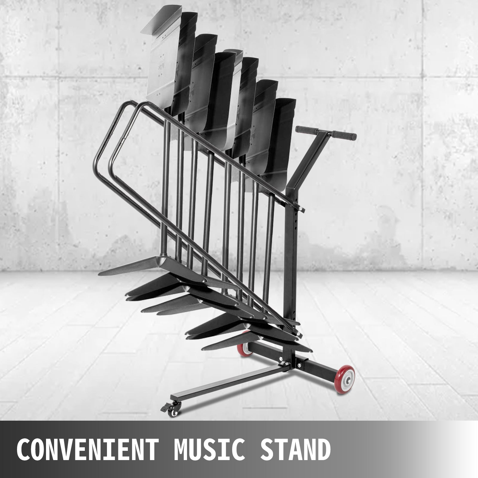 Vevor Music Stand Cart Rack Stand Dolly W/ 4 Caters Up To 10 Stands Storage Cart