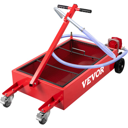 Vevor Low Profile Oil Drain Pan Truck Drain Pan 20 Gallon With Pump Hose Casters
