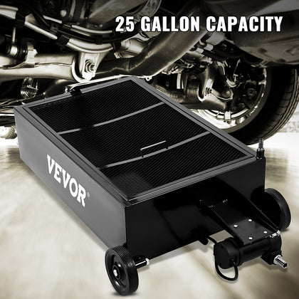Vevor Low Profile Oil Drain Pan Truck Drain Pan 25 Gallon With Pump Hose Casters