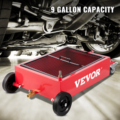 Vevor Low Profile Oil Drain Pan Truck Drain Pan 9 Gallon Oil Drain Tank Casters