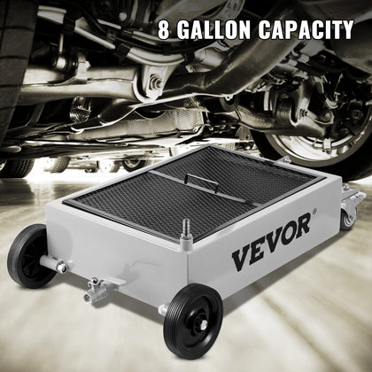Vevor Low Profile Oil Drain Pan Truck Drain Pan 8 Gallon Oil Drain Tank Casters